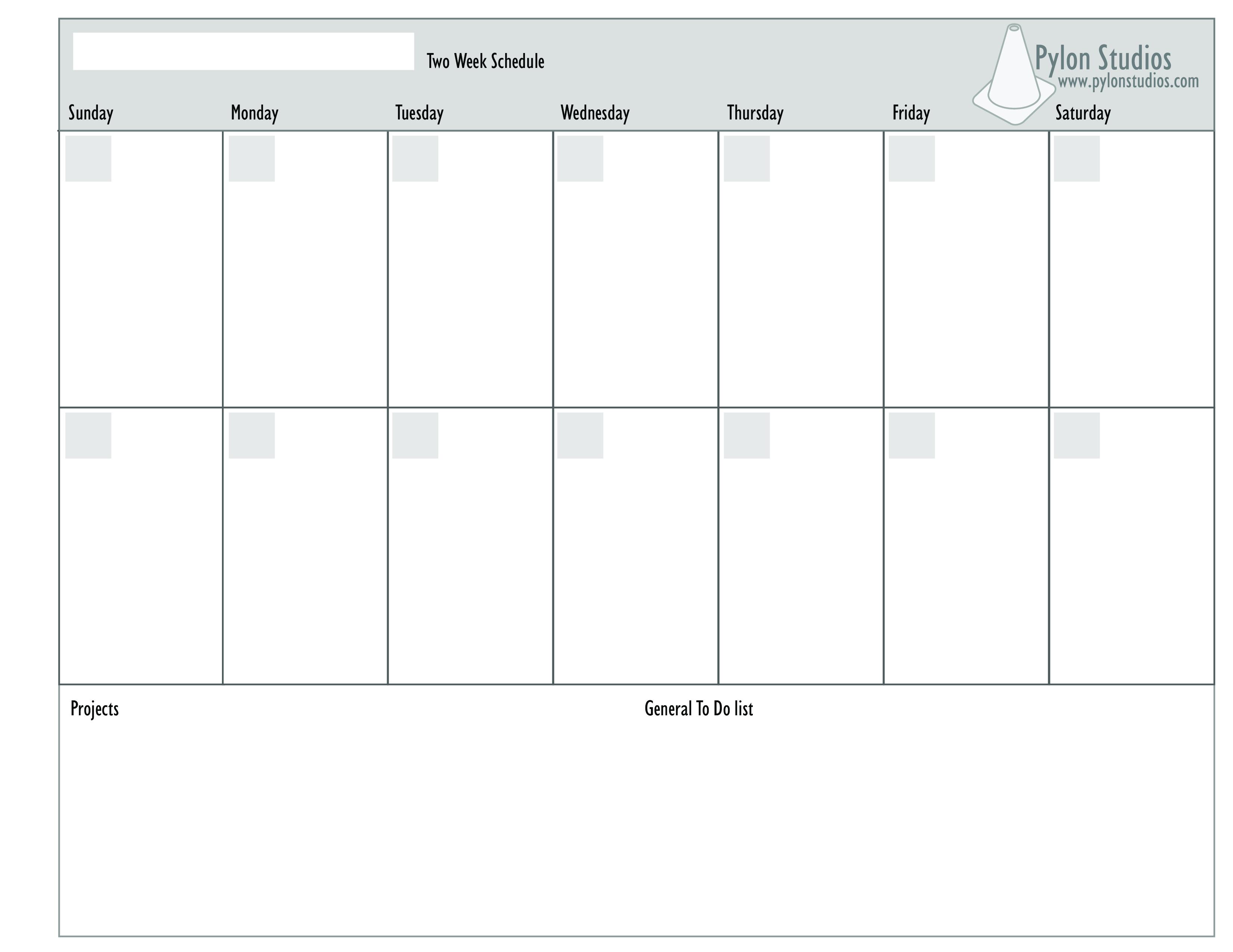 2 Week Calendar | Templates At Allbusinesstemplates Saturday Through Friday Calendar Template