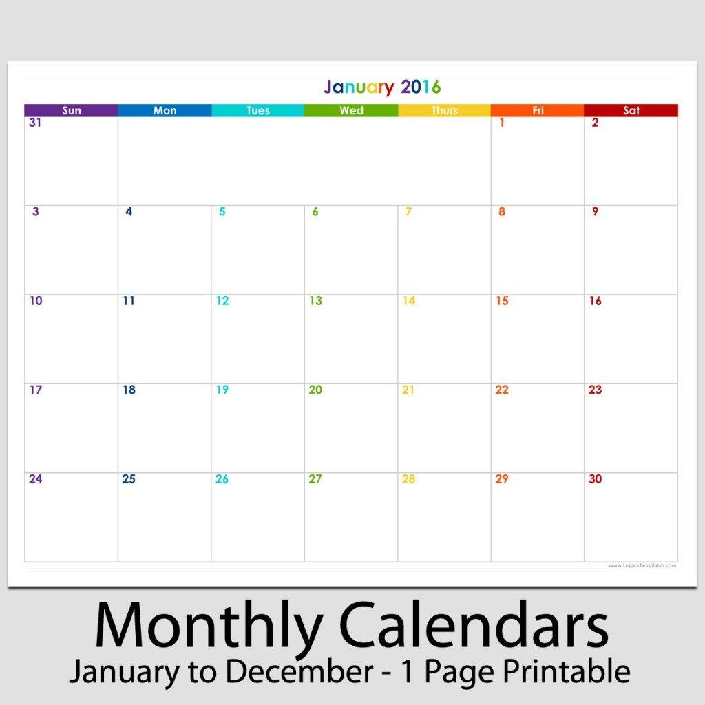 """2016 – 12 Month Landscape Calendar – 8 1/2"""" X 11""""   Legacy 8 1/2 X 11 Blank Calendar Pages"""