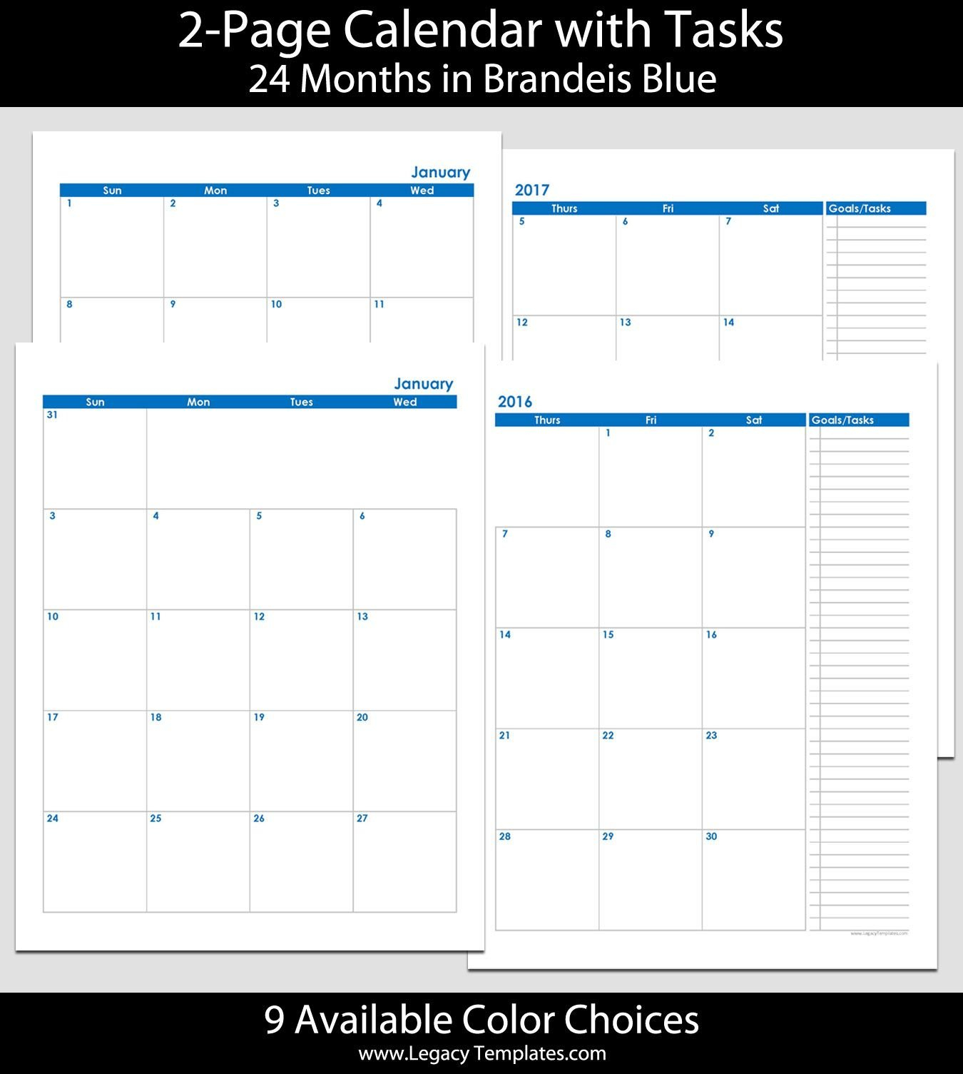 2016 & 2017 24 Month 2 Page Calendar – 8 1/2″ X 11″   2016 8 1/2 X 11 Blank Calendar Pages