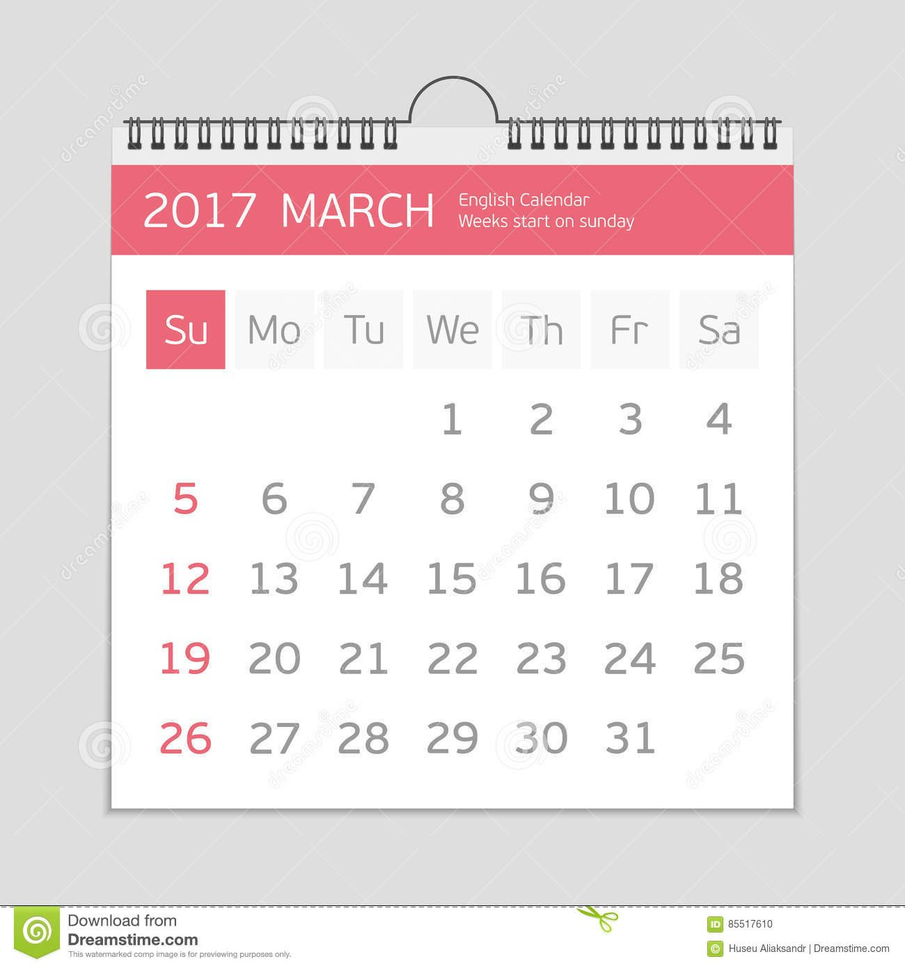 2017 March Calendar Template. Stock Vector – Illustration Of March Last 2 Weeks Calendar