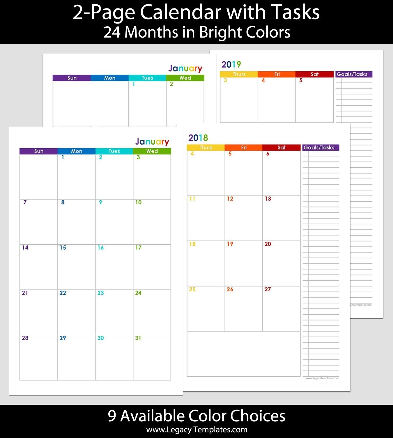 2018 & 2019 24-Months 2-Page Calendar. Printable 2-Page 2 Page Calendar Template Free