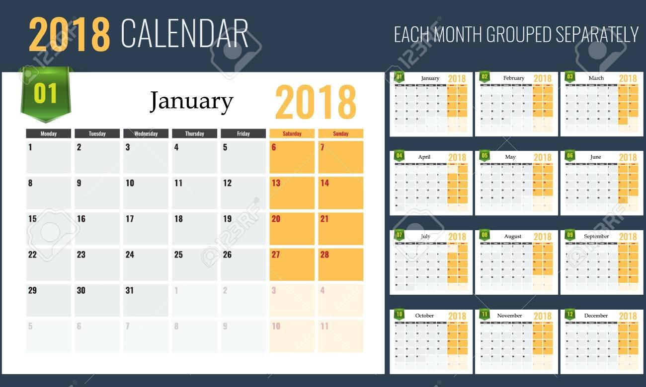 2018 Calendar Template, Planner, 12 Pages. Easy To Edit, Each.. Free Calendar To Edit