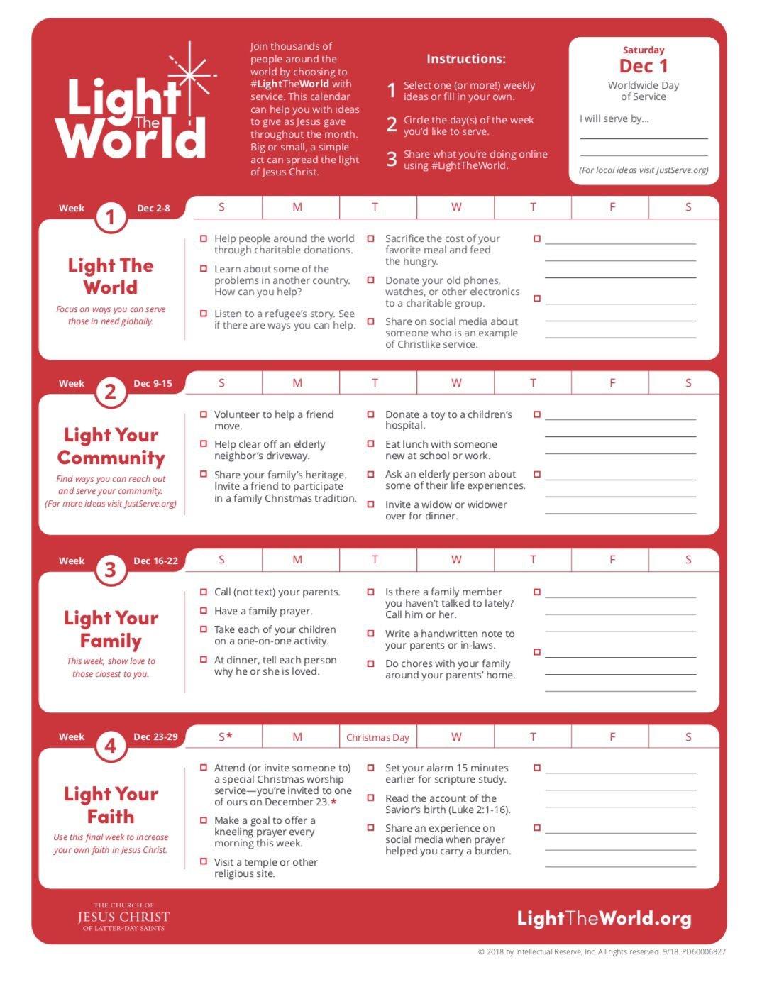 2018 Lds Light The World Calendar. | Lds Light The World Templet One Week Calender
