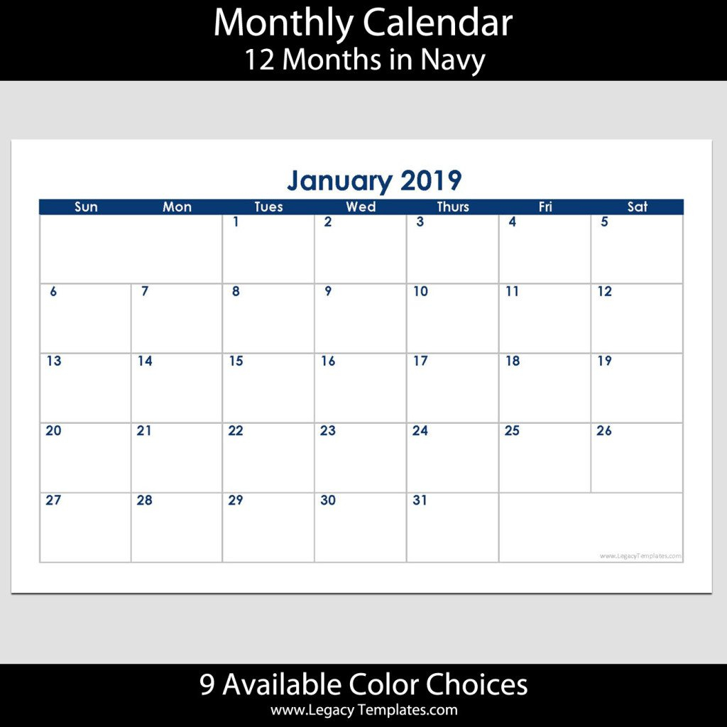 2019 12 Month Landscape Calendar – 5.5 X 8.5 | Legacy Templates 5.5 X 8.5 Calendar Template