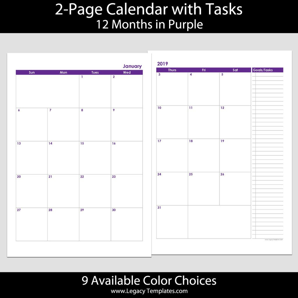 2019 12 Months 2 Page Calendar – A4 | Legacy Templates Printable 2 Page Monthly Calendar