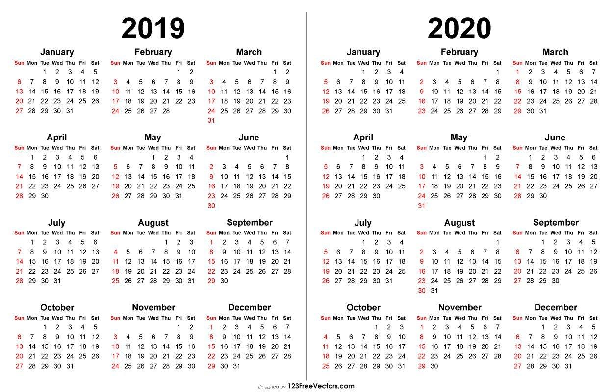 2019 2020 Calendar   Printable Calendar Template, Printable Multi Year Printable Calendars Free