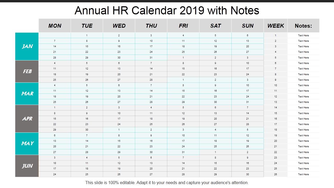 2019 Calendar: 13 Powerpoint Calendar Templates – The Hr Calendar For The Year