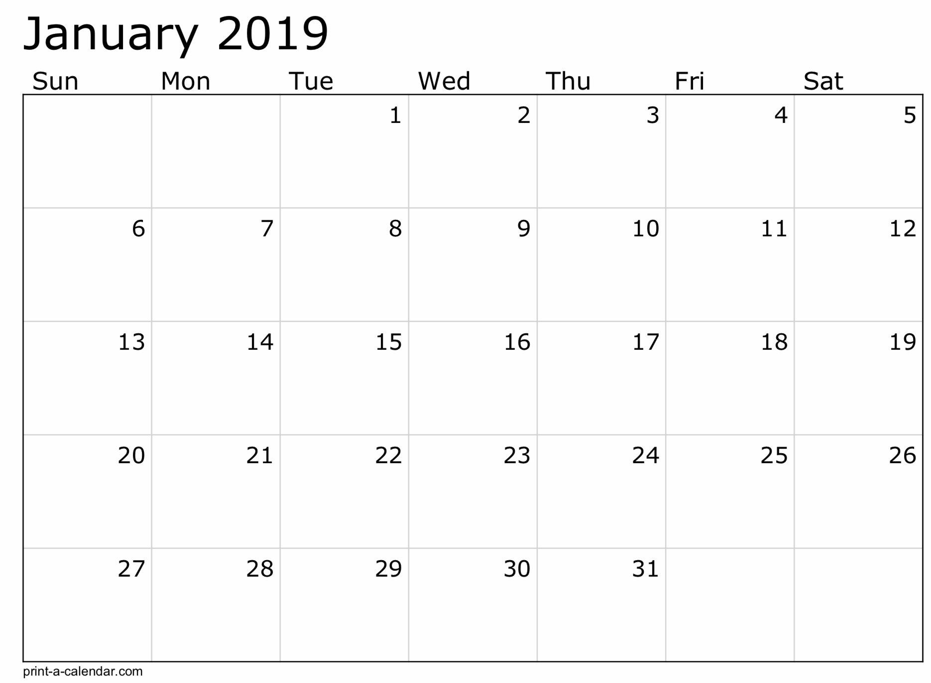 2019 Free Printable Calendar Templates – A Mother's Random 8 1/2 X 11 Blank Calendar Pages