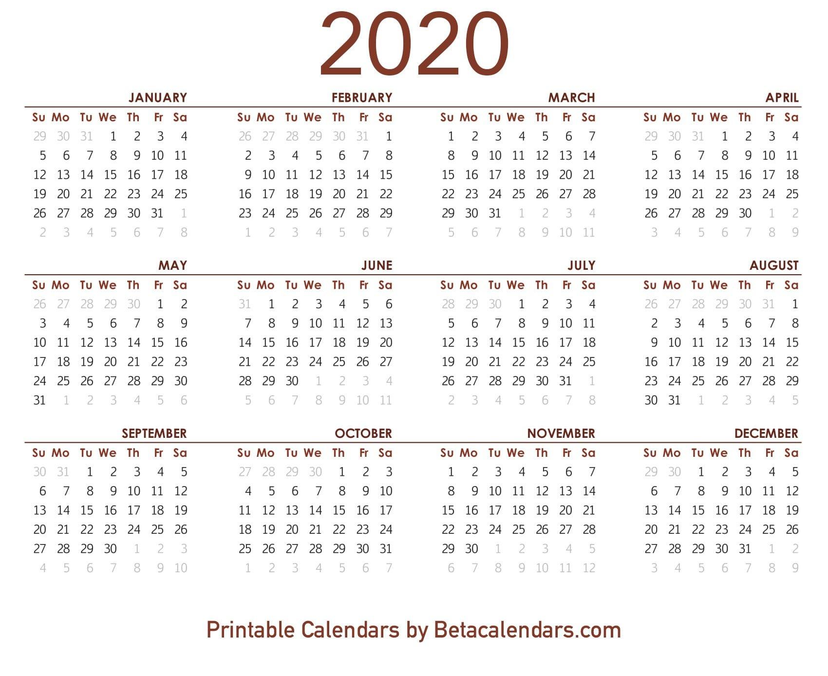 2020 Calendar – Free Printable Yearly Calendar 2020 8 1/2 X 11 Printable May Calendar
