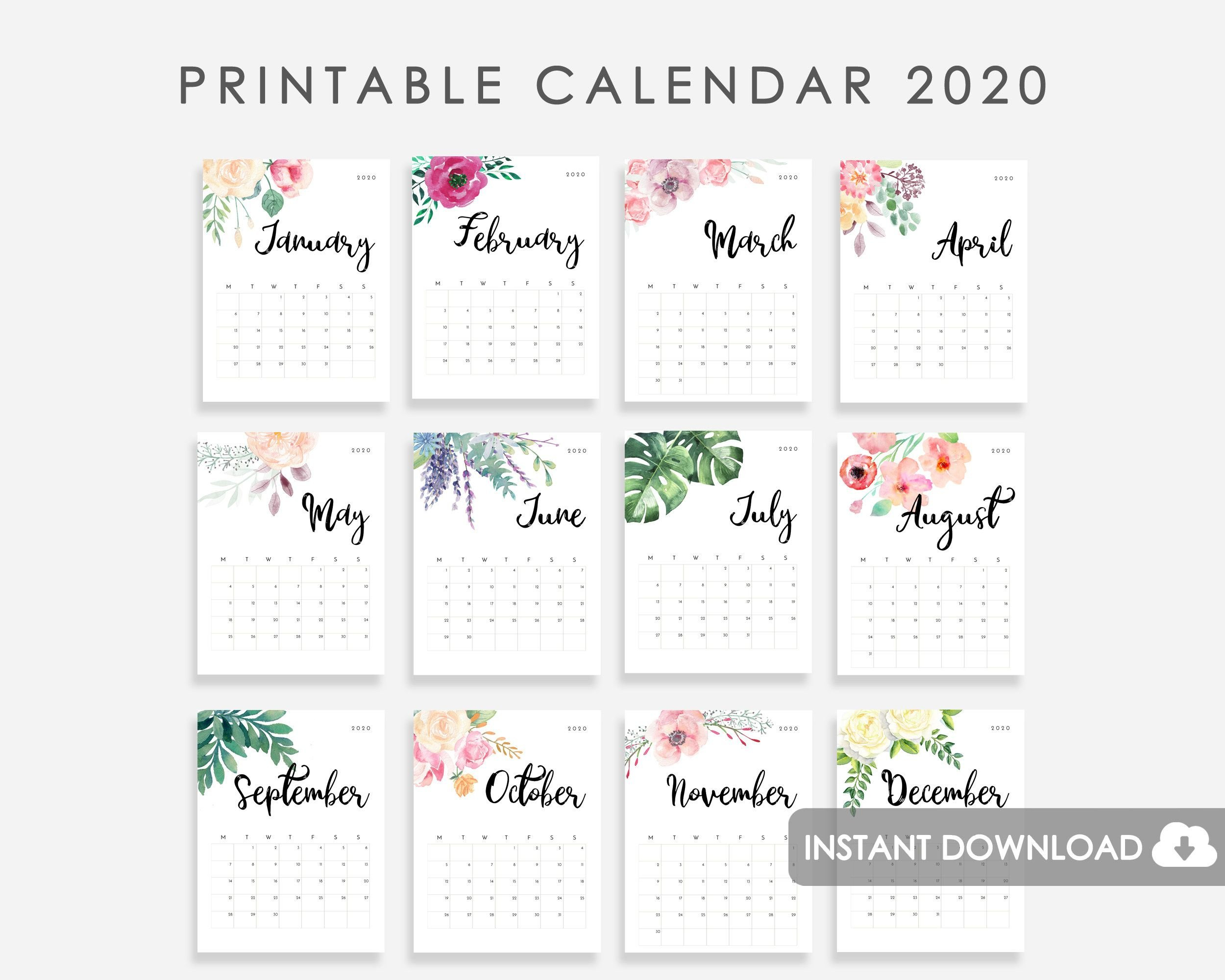 2020 Calendar Printable, Desk Calendar 2020, 2020 Wall Small Calendar Page To Print For Desk