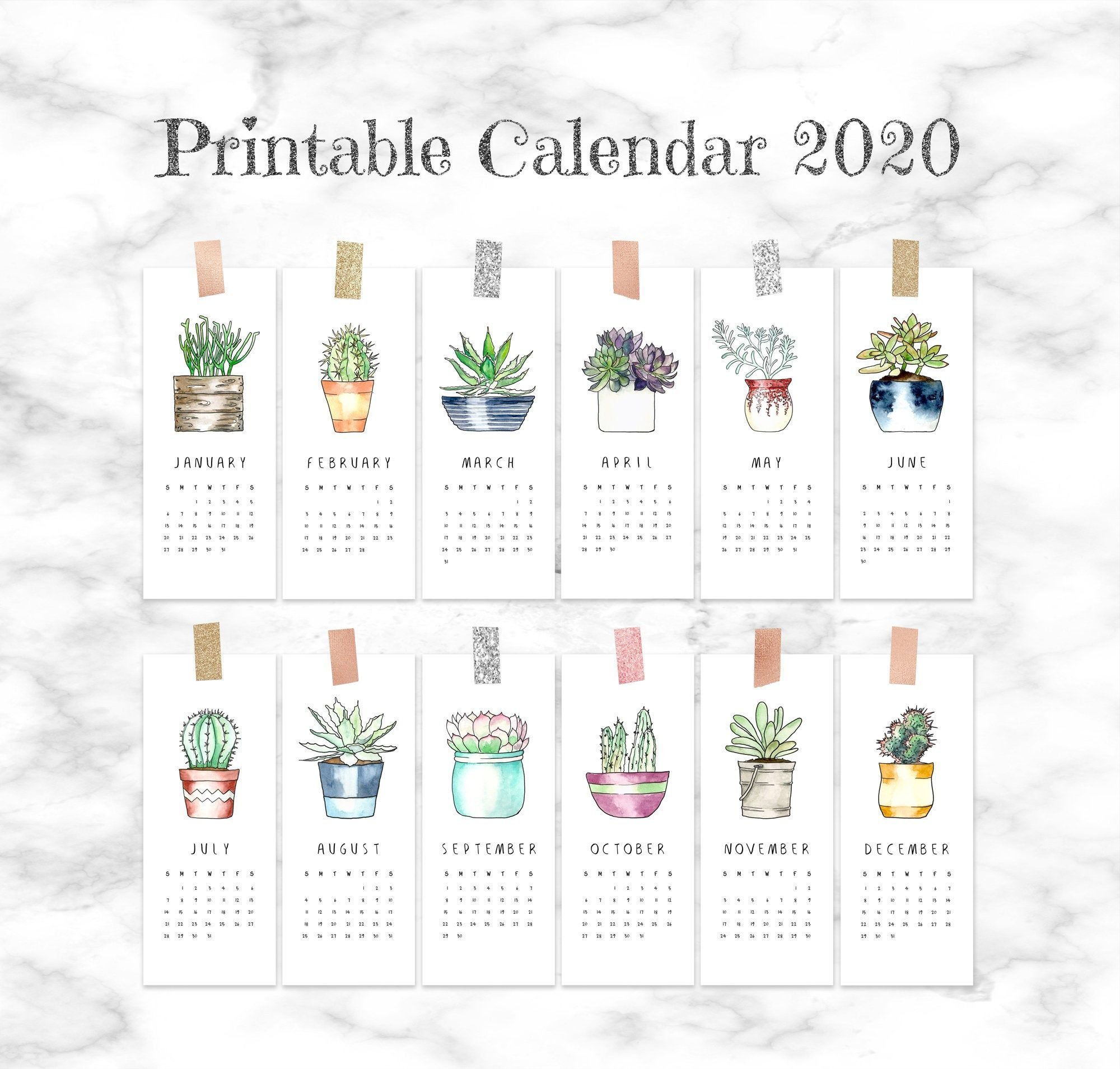 2020 Calendar Printable Pages, Small Monthly Calendar 2020 Small Calendar Page To Print For Desk