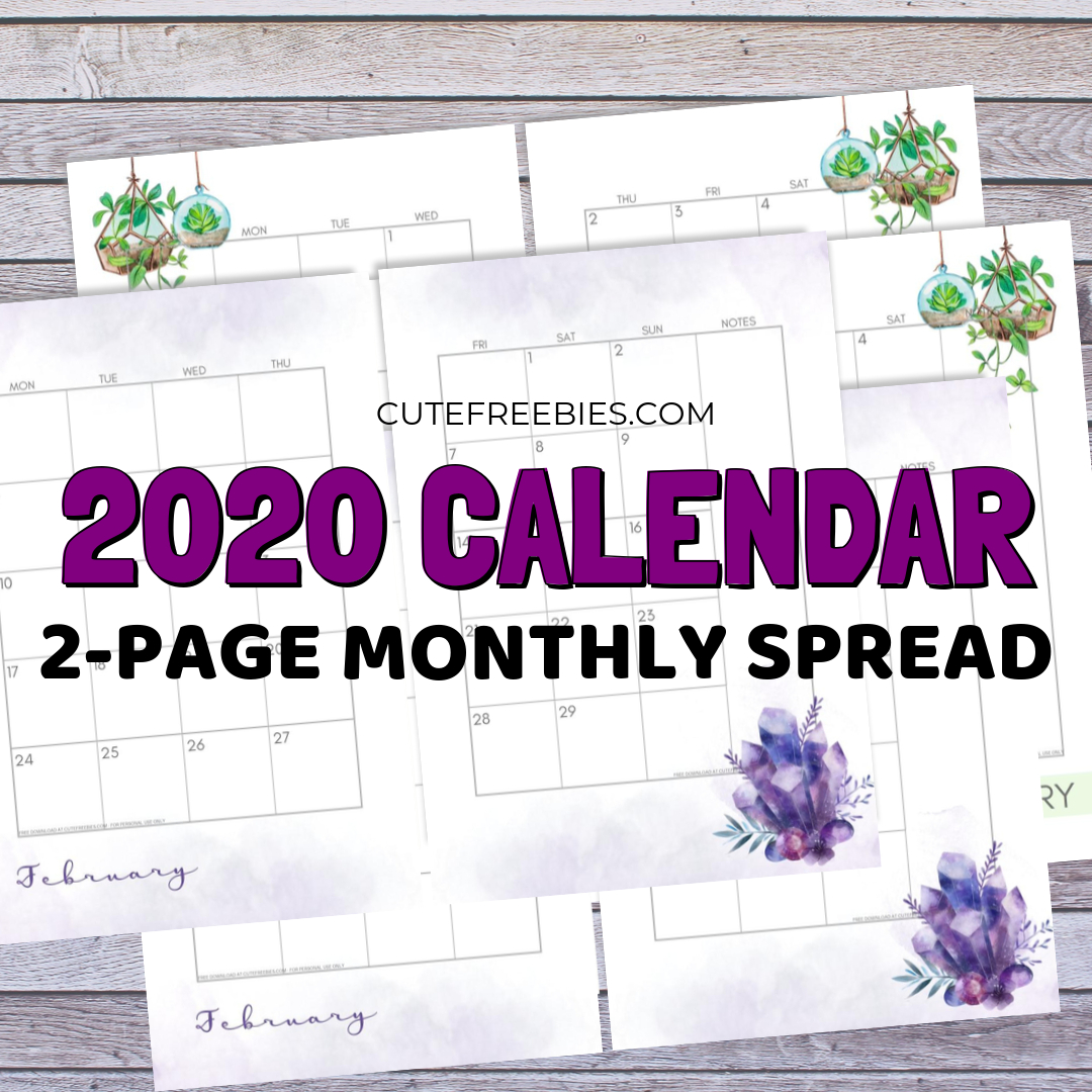 2020 Monthly Calendar Two Page Spread – Free Printable Printable 2 Page Monthly Calendar