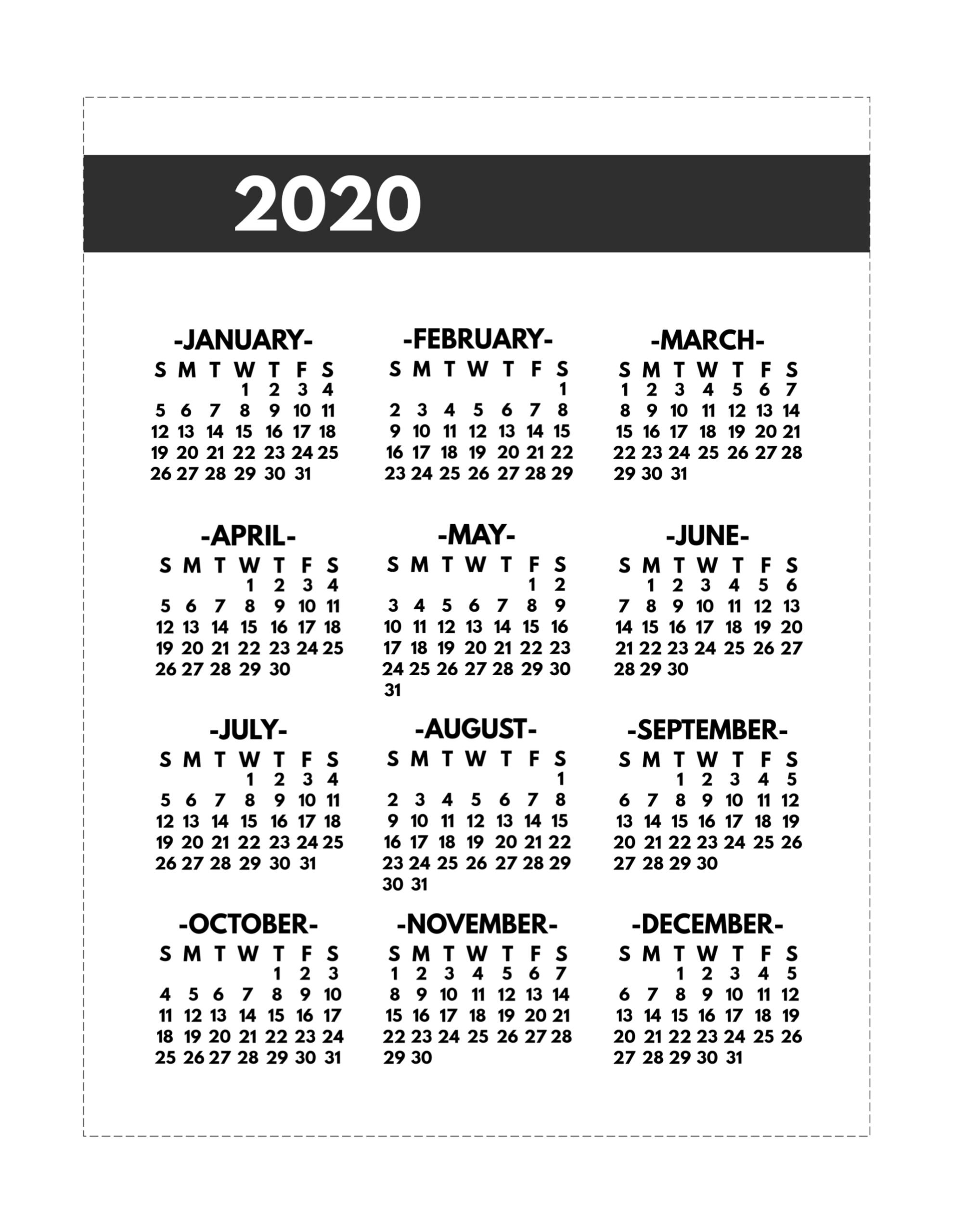 2020 Printable One Page Year At A Glance Calendar – Paper 8.5 By 11 Calendar
