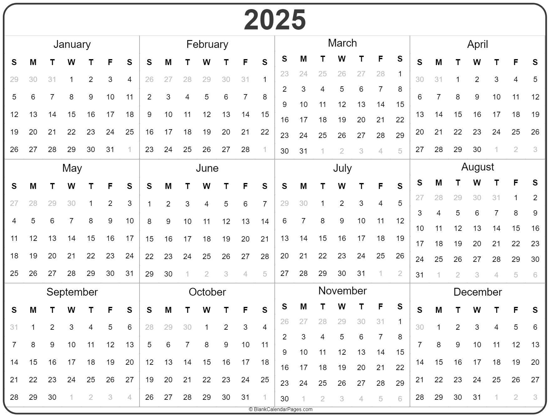 2025 Year Calendar | Yearly Printable Printable 5 Year Calendar