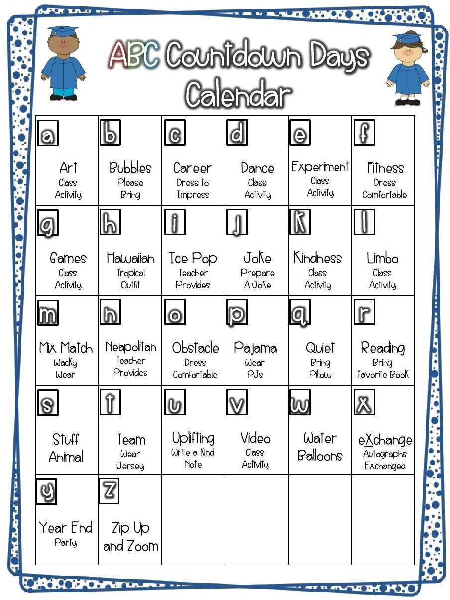 26 Day Countdown To The Summer   School Countdown, End Of Five Year Countdown Calendar