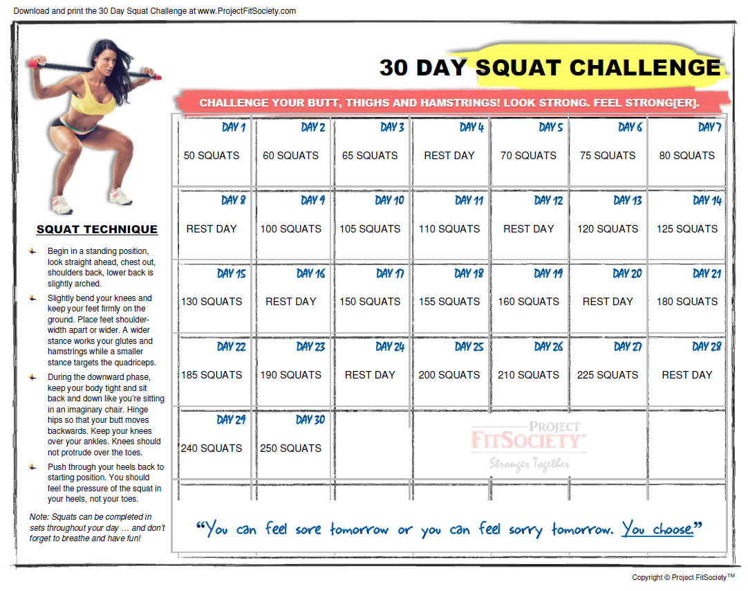 30 Day Squat Challenge Calendar | Click Here To Download The Squat Challenge Calendar Beginner Printable