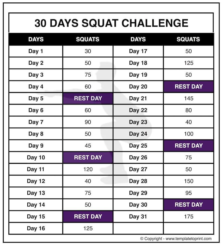 30 Day Squat Challenge Printable Calendar » Template To Print Squat Challenge Calendar Beginner Printable