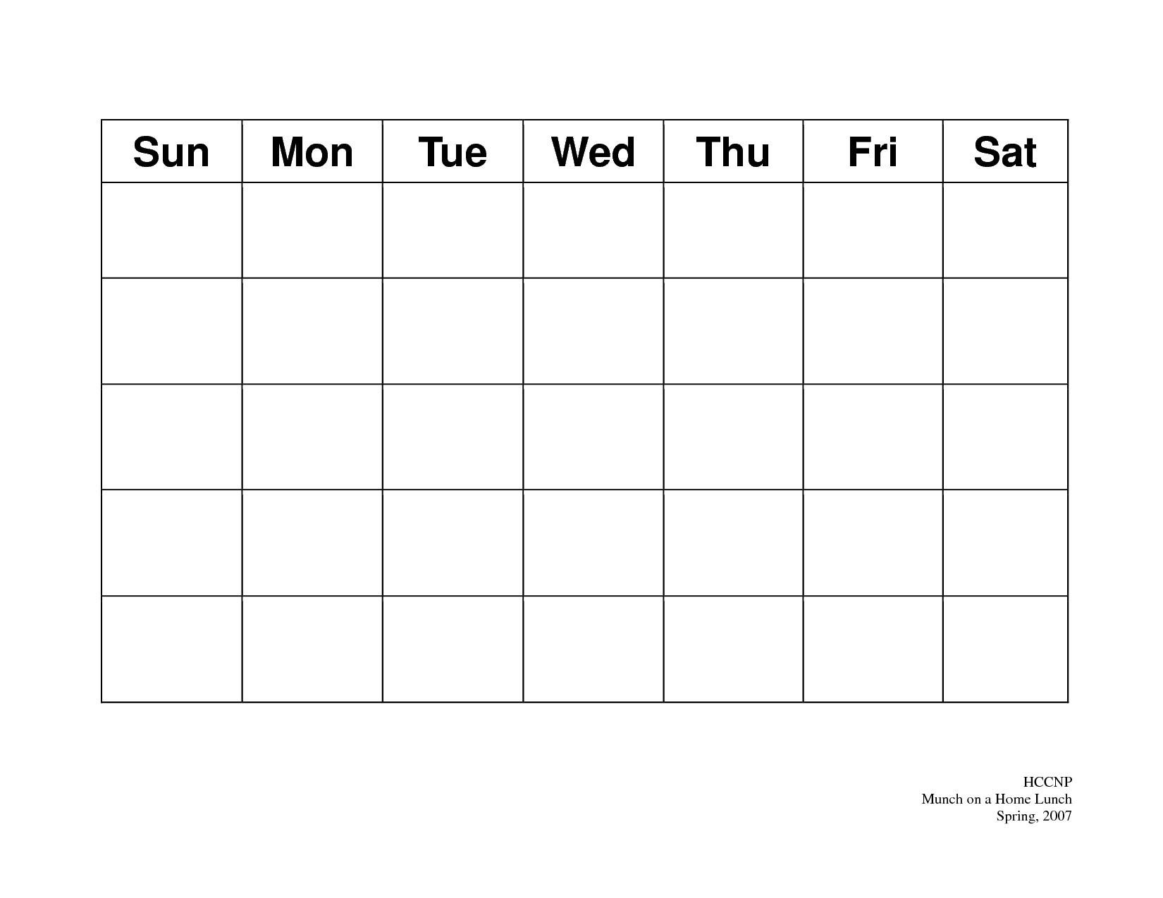 31 Day Blank Calendar Template   Ten Wall Calendar Blank 31 Day Calendar Templates