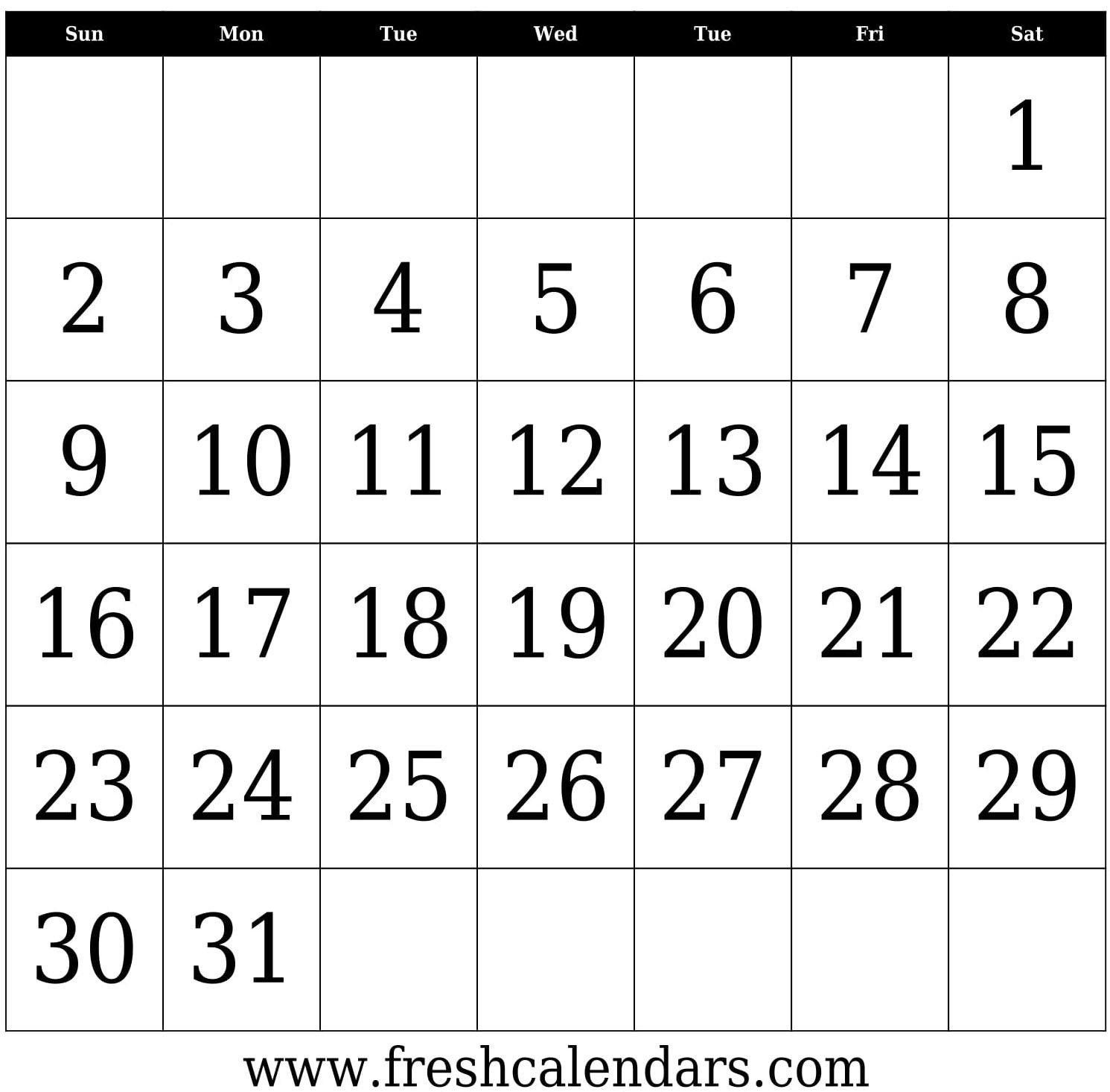31 Day Calendar Template Printable – Samyysandra 31 Day Calendar Templates
