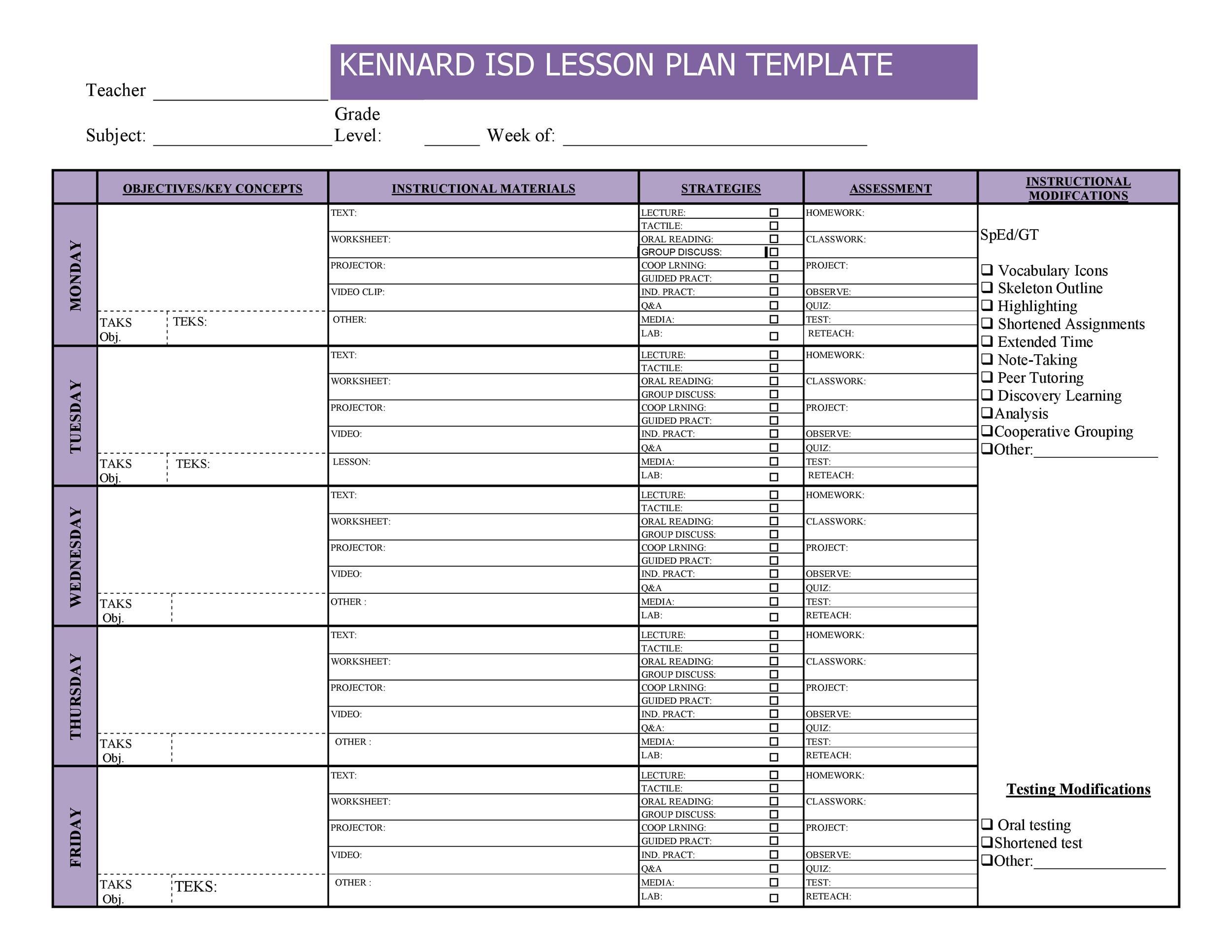 44 Free Lesson Plan Templates [Common Core, Preschool, Weekly] Lesson Plan Template Weekly Prescool Plannar
