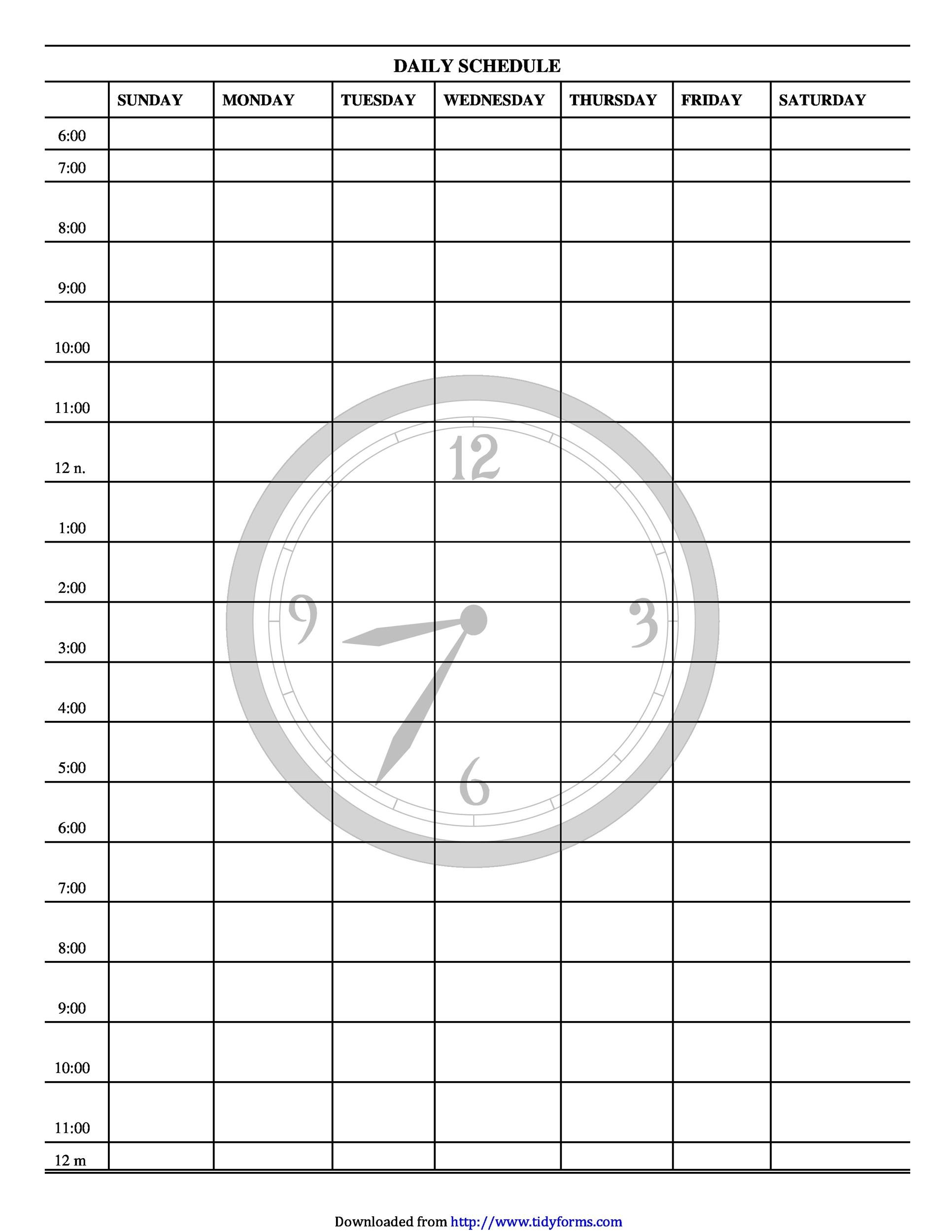 47 Printable Daily Planner Templates (Free In Word/excel/pdf) Free Printable 24 Hour Daily Calendar