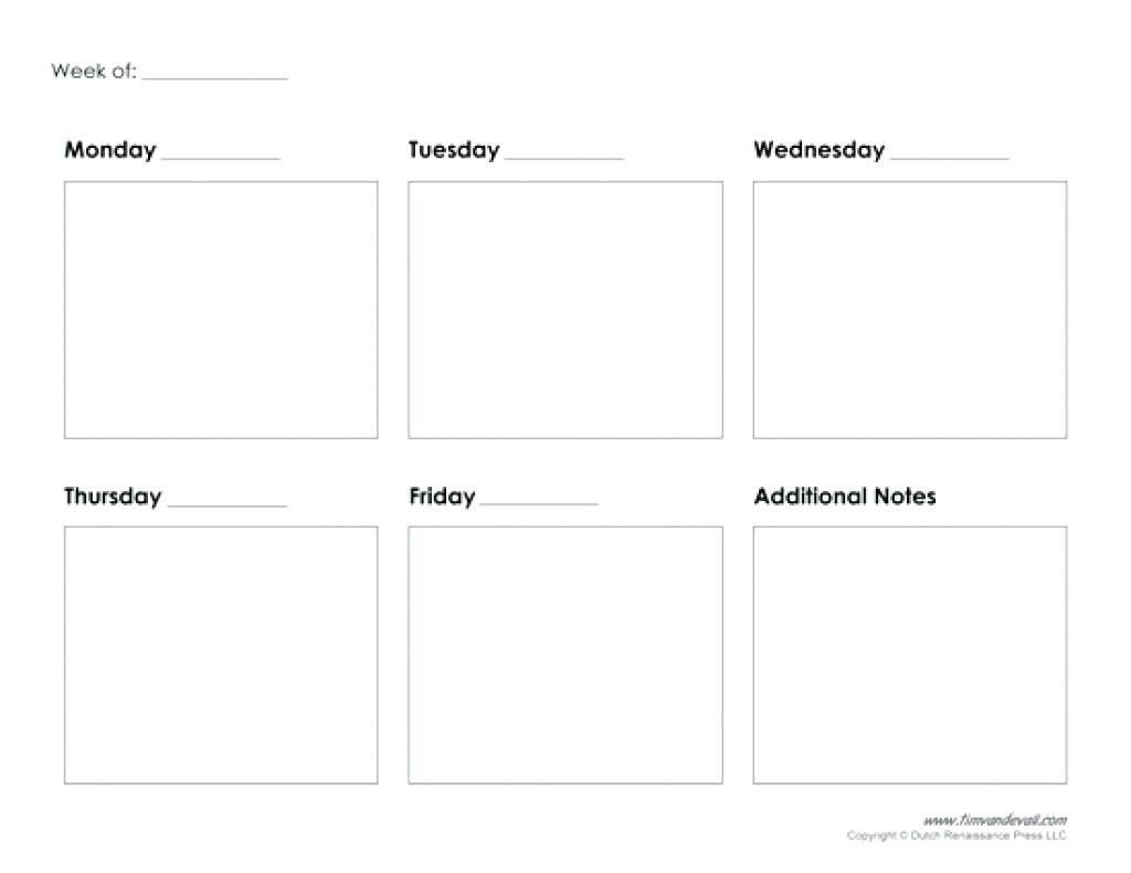 5 Day Calendar Printable Free | Blank Calendar Template Free 5 Day Calendar Template