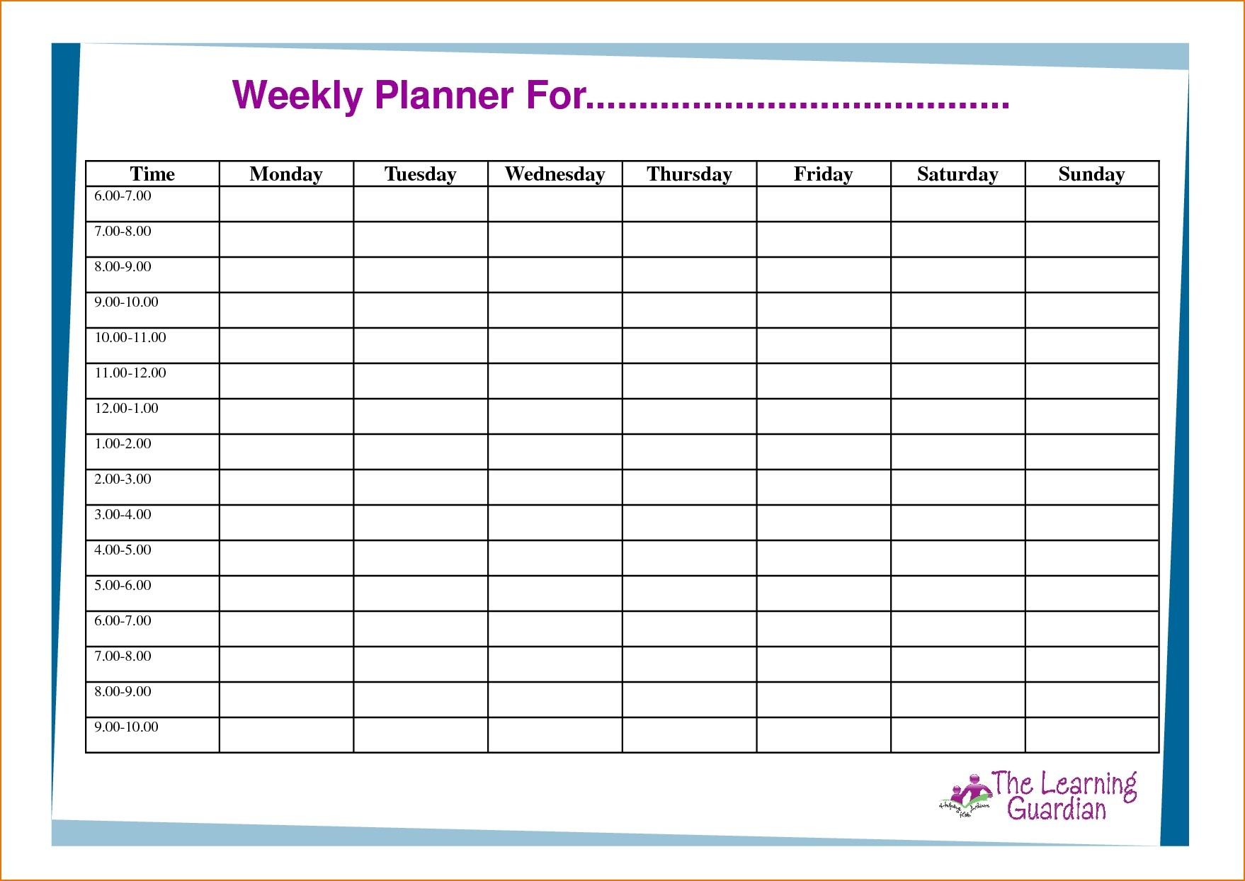 6 Week Calendar Template Word   Free Calendar Template Example 4 Week Planner Template Word