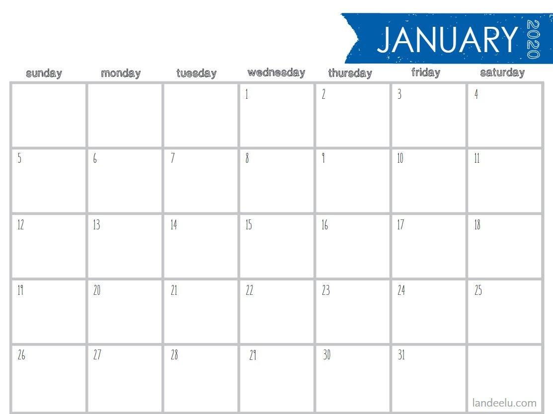 8 Stylish Free, Printable Calendars For 2020 5 X 8 Free Printable Calendars
