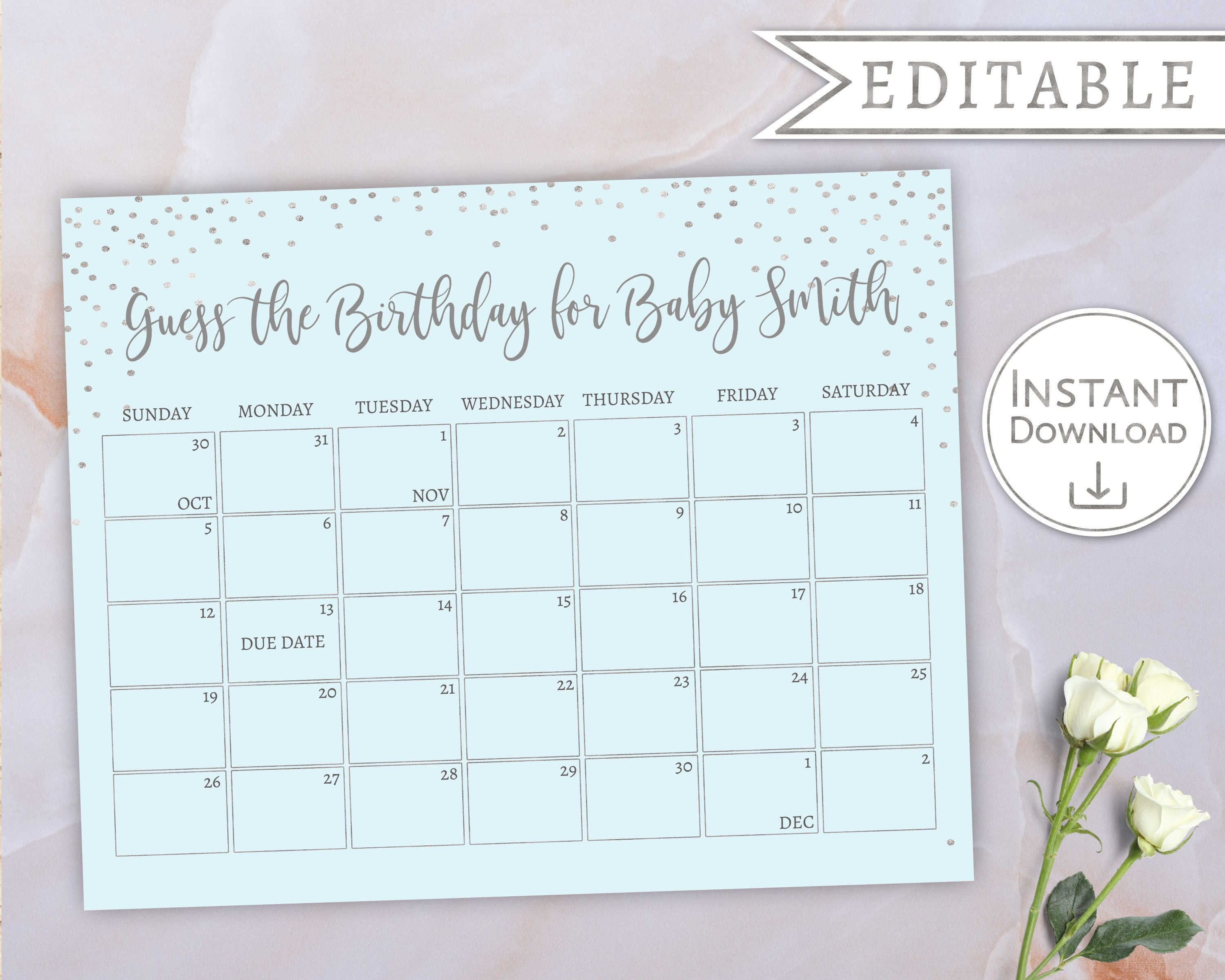 Baby Due Date Calendar, Guess Babys Birthday, Baby Boy Blue Guess The Due Date Calendar Template Free