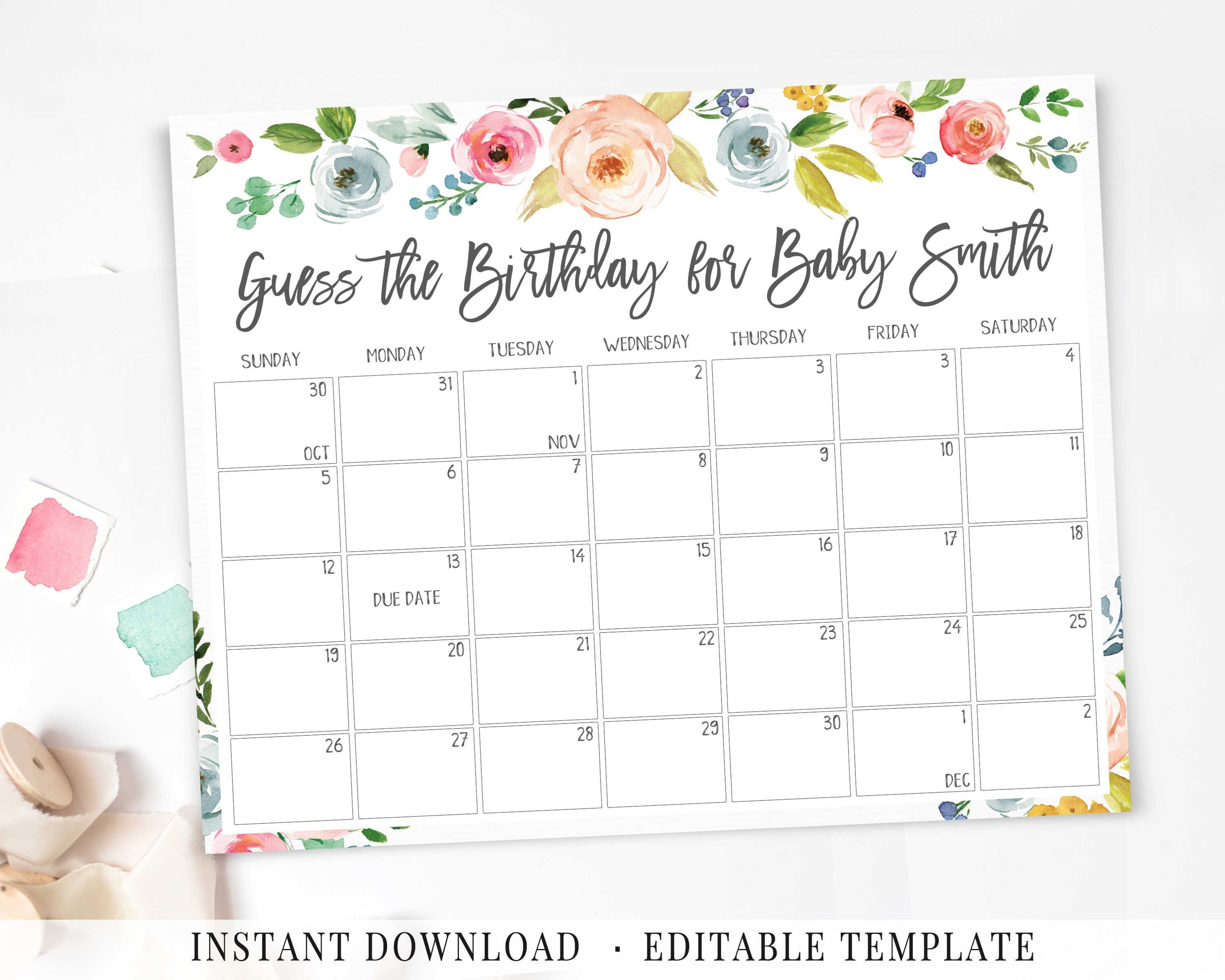Baby Due Date Calendar, Printable Game, Guess Baby Birthday Calendar For Guessing Baby Due Date