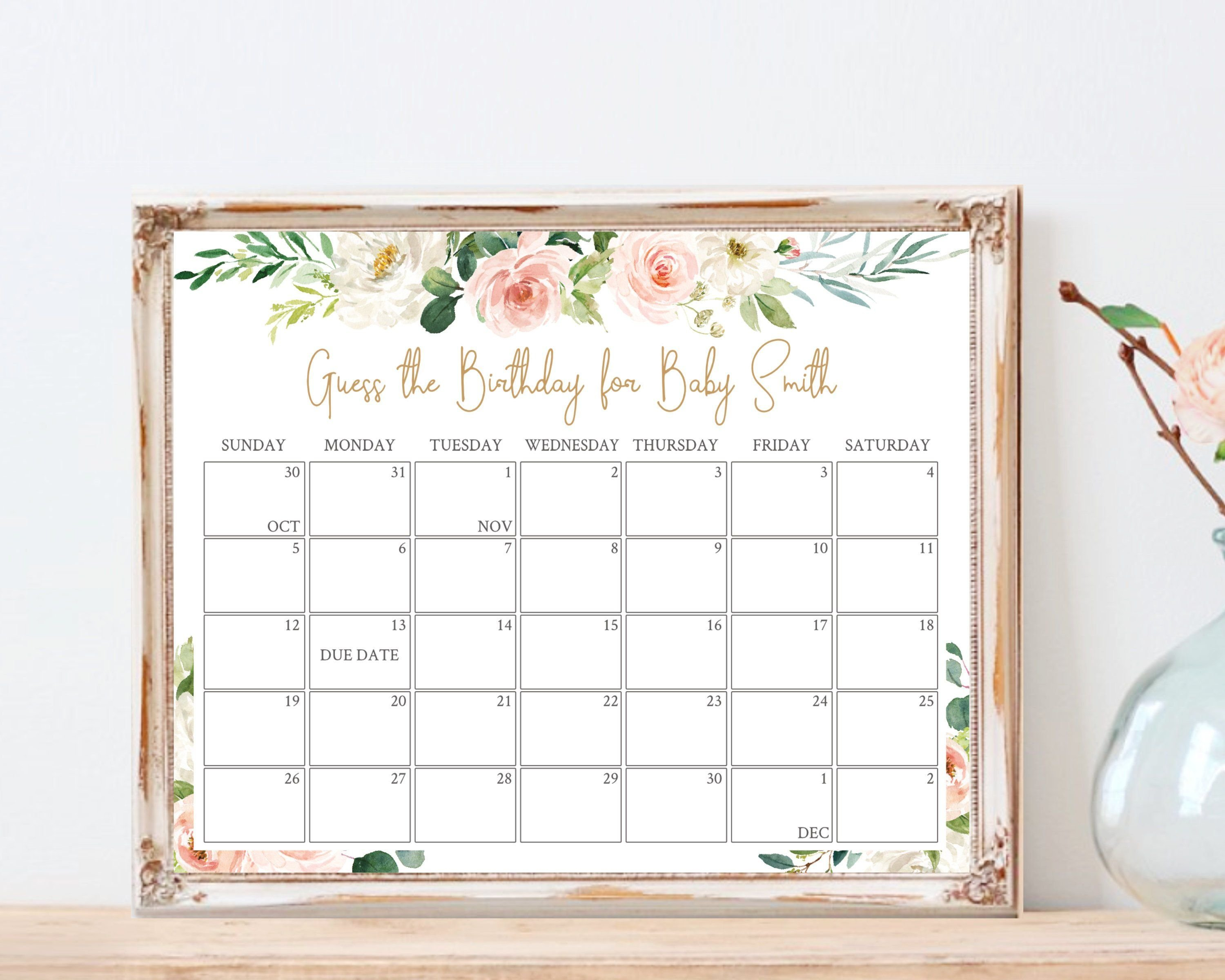 Baby Due Date Calendar, Printable Game, Guess Baby Birthday Guess The Due Date Printable Calendar