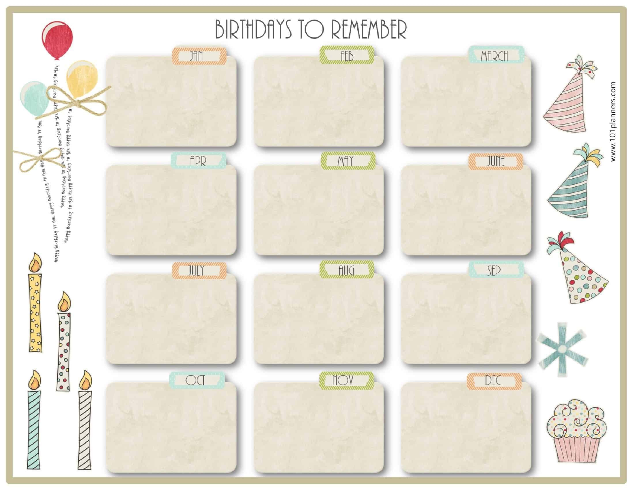 Birthday Calendar Template Birthday Calendar Fill In Online