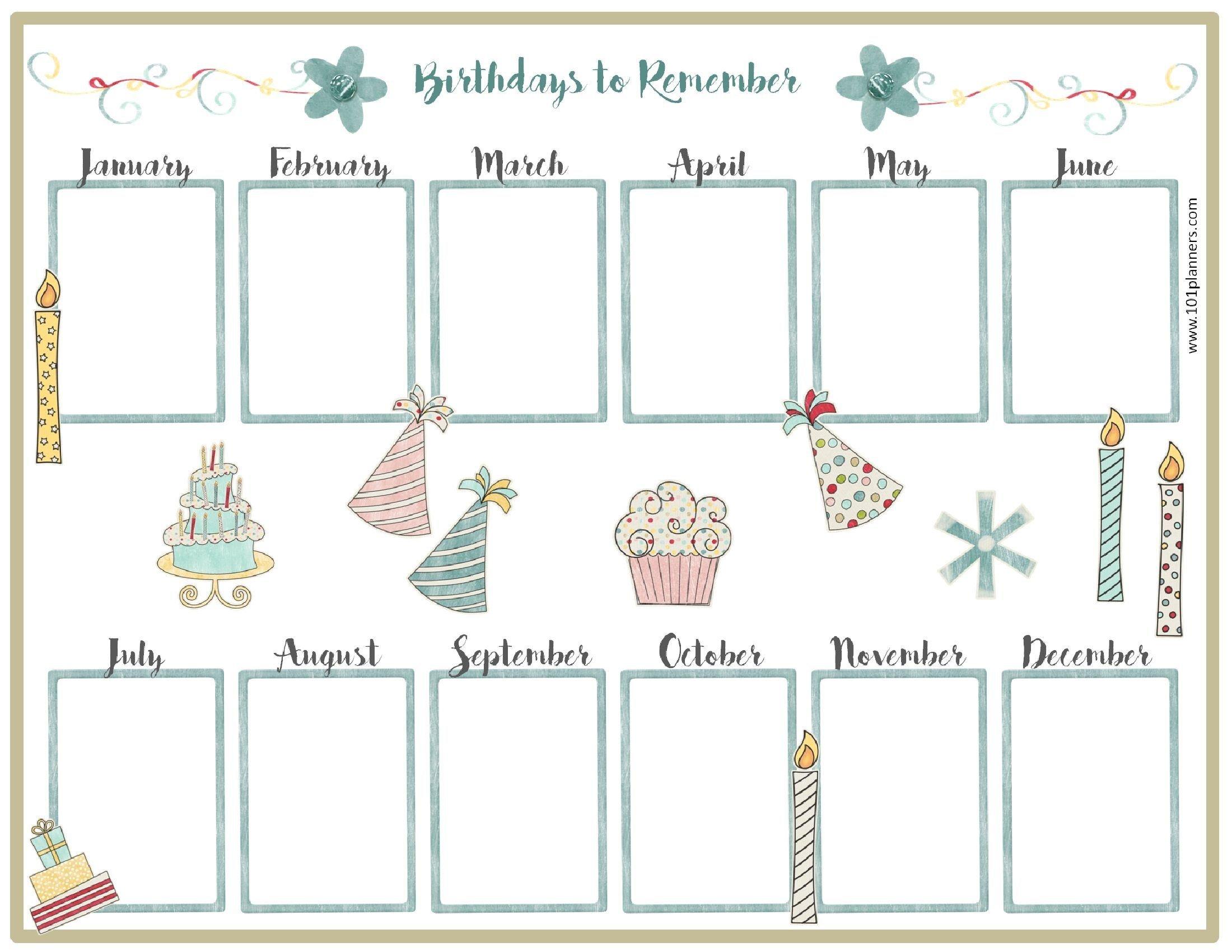 Birthday Calendar Template (С Изображениями) | День Рождения Birthday Calendar Fill In Online
