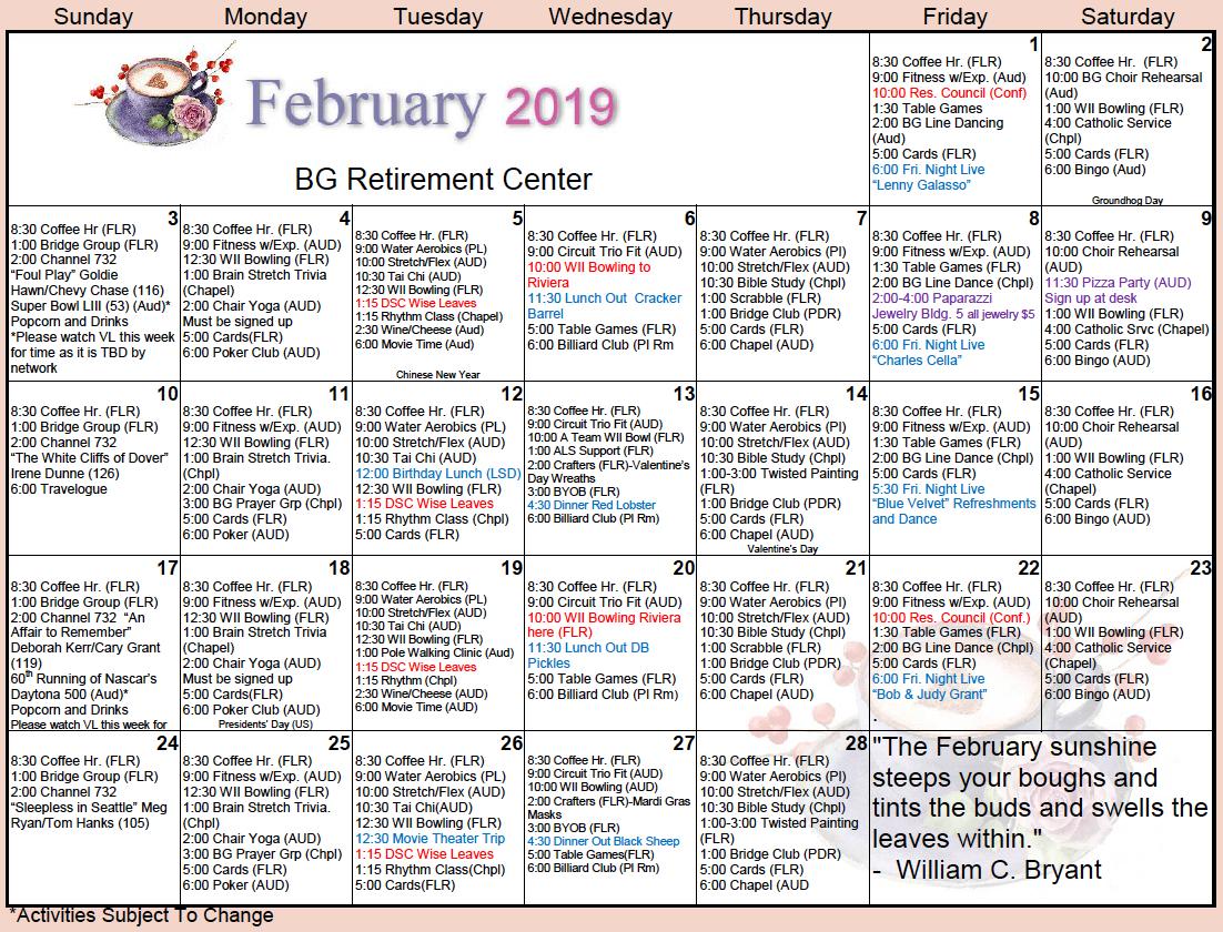 Bishop's Glen February Calendar – Bishop's Glen Retirement 5 Year Retirement Calendar