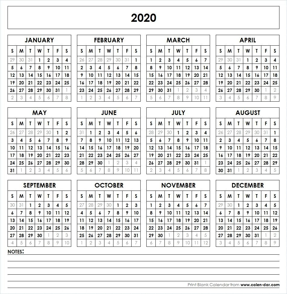 Blank 2020 Printable Calendar Template Pdf | Yearly Calendar 4 Year Calendar Template
