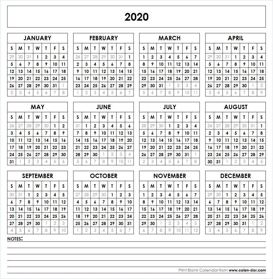 Blank 2020 Printable Calendar Template Pdf   Yearly Calendar 4 Year Printable Calendar