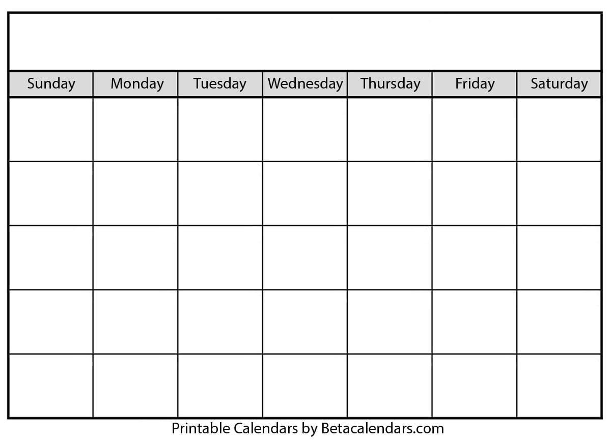 Blank Calendar – Beta Calendars Fill In Blank Calendar Templates