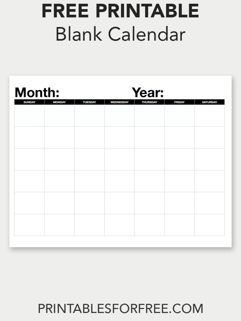 Blank Calendar (Monthly - Sunday Start (With Images) | Blank Calendar I Can Fill Out