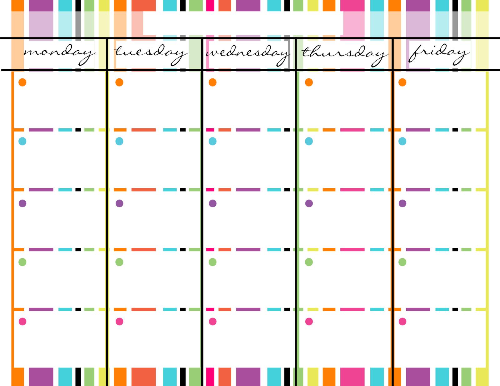 Blank Monday Through Friday Printable Calendar | Calendar Monday – Friday Schedule Blank Template