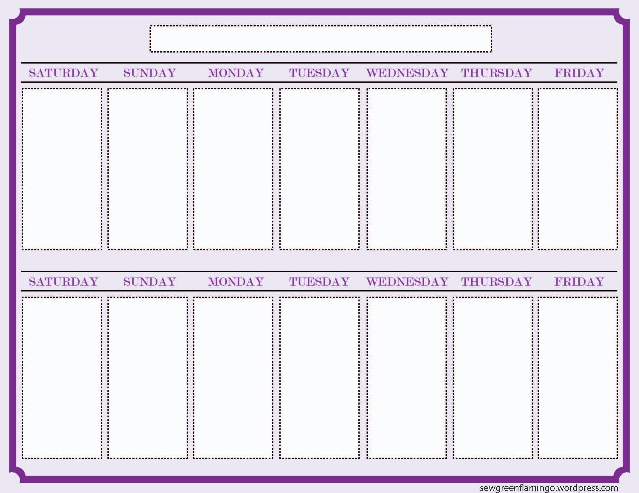 Blank Two Week Schedule Template | Free Calendar Template 2 Week Blank Calendar Printable