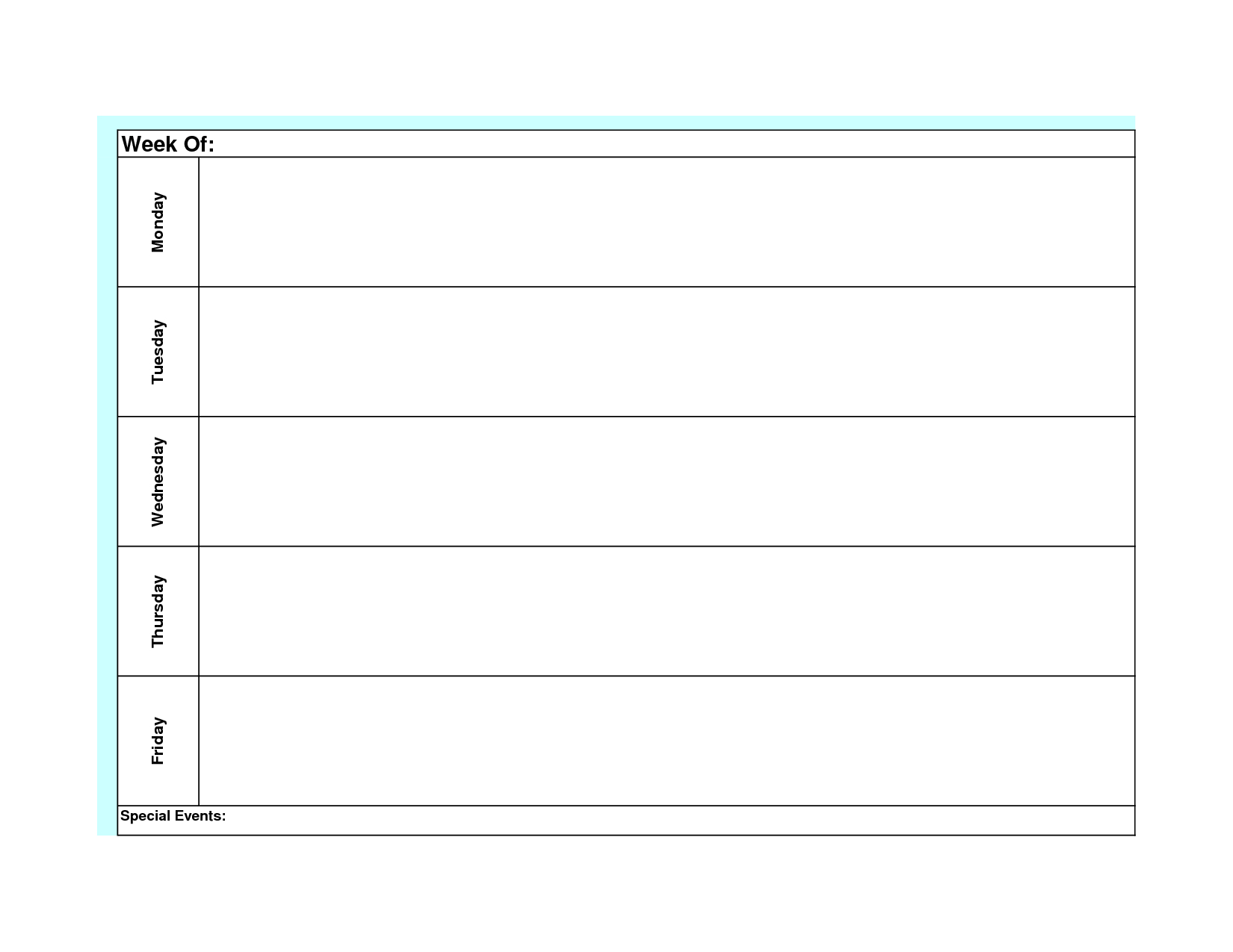 Blank Weekly Calendar Template Monday Friday (With Images Weekly Planner Template Monday Thru Friday