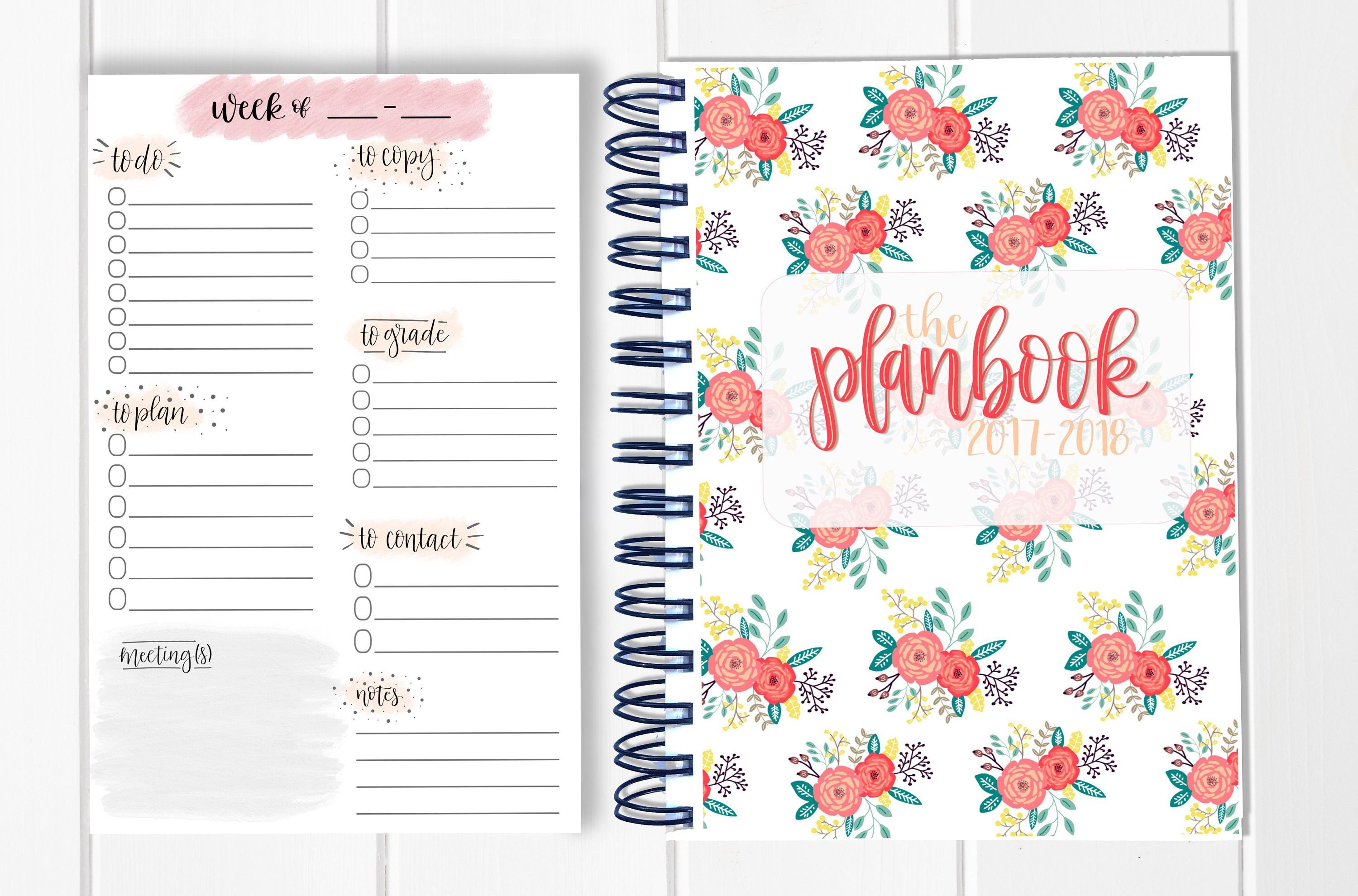 Bundle! Lesson Plan Book + Planning Notepad – Calendar Show Me Monthly Calendars With Agenda Pages That Are 5.5X8.5