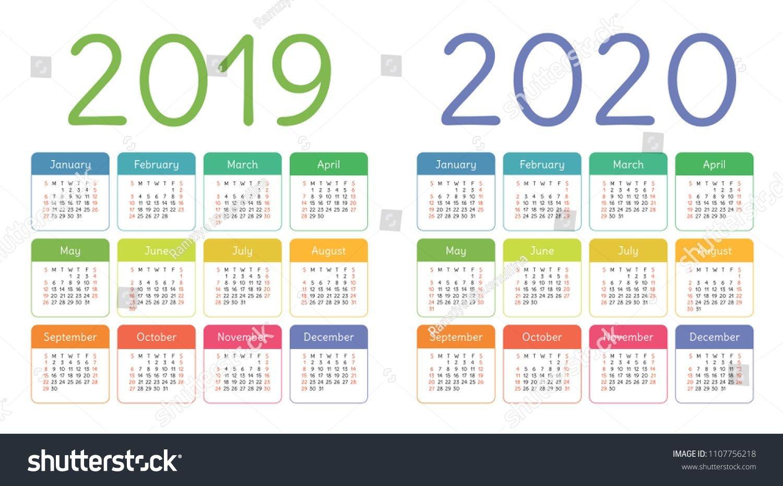 Calendar 2019, 2020 Years. Colorful Calender Set. Week March Last 2 Weeks Calendar