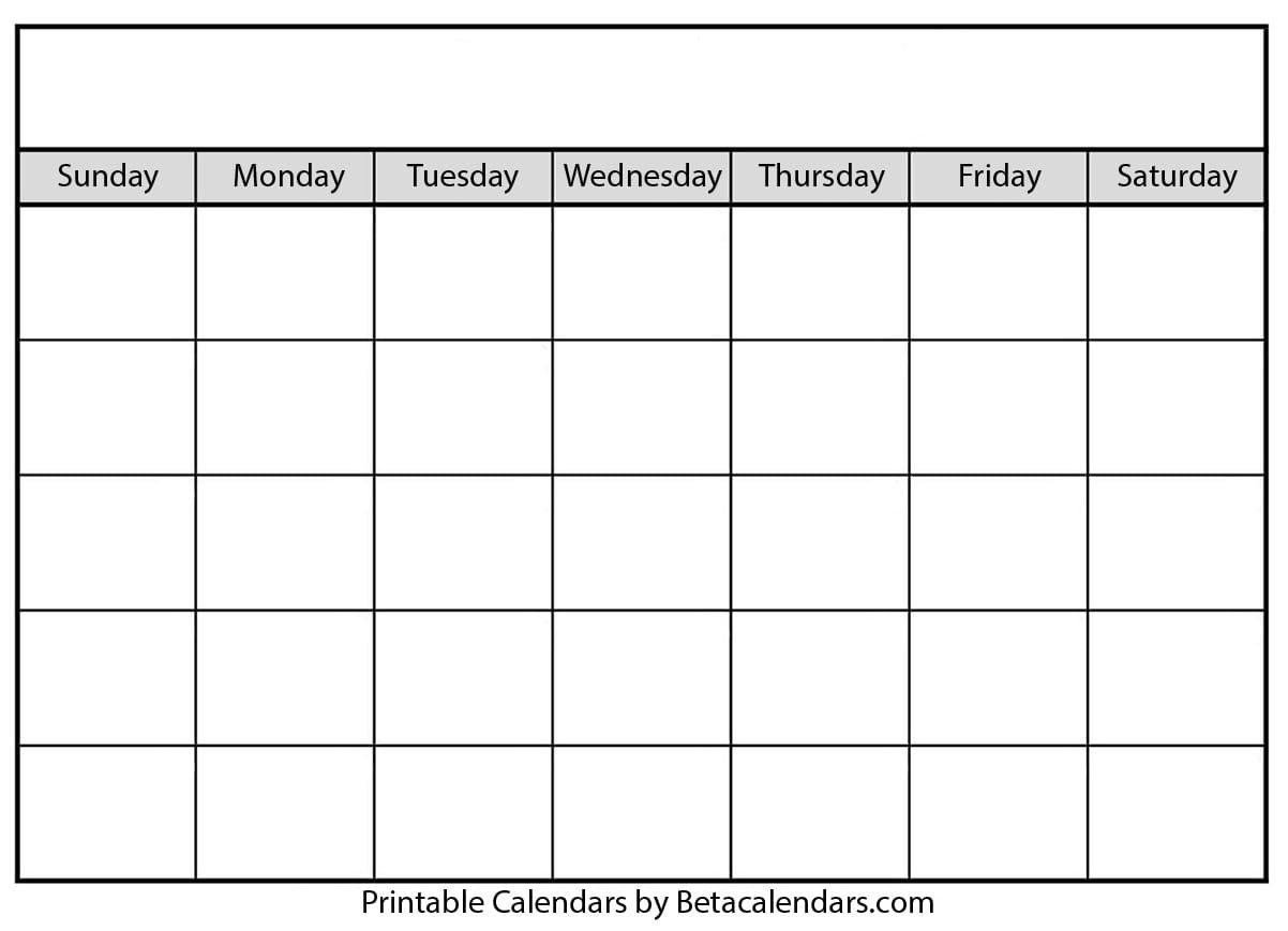 Calendar – Blank Sunday Through Saturday Blanl Calendar