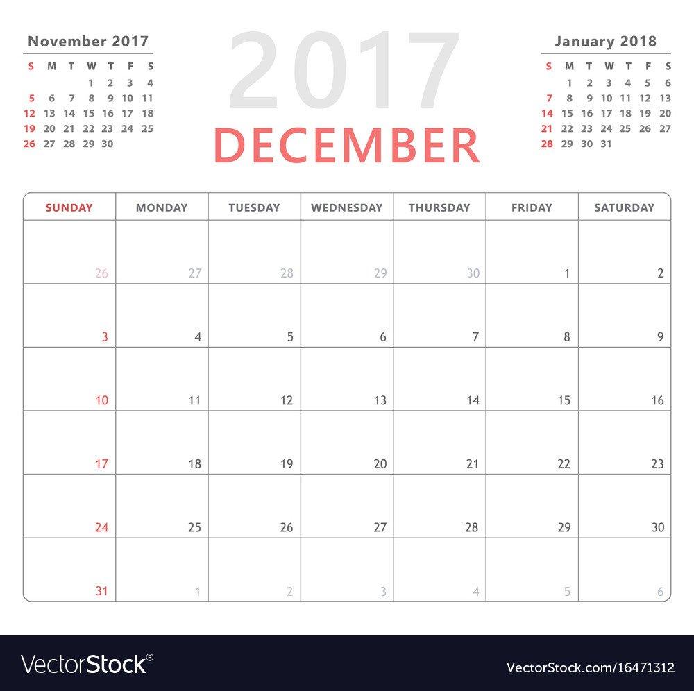 Calendar Planner 2017 December Week Starts Sunday Calendar Saturday To Friday