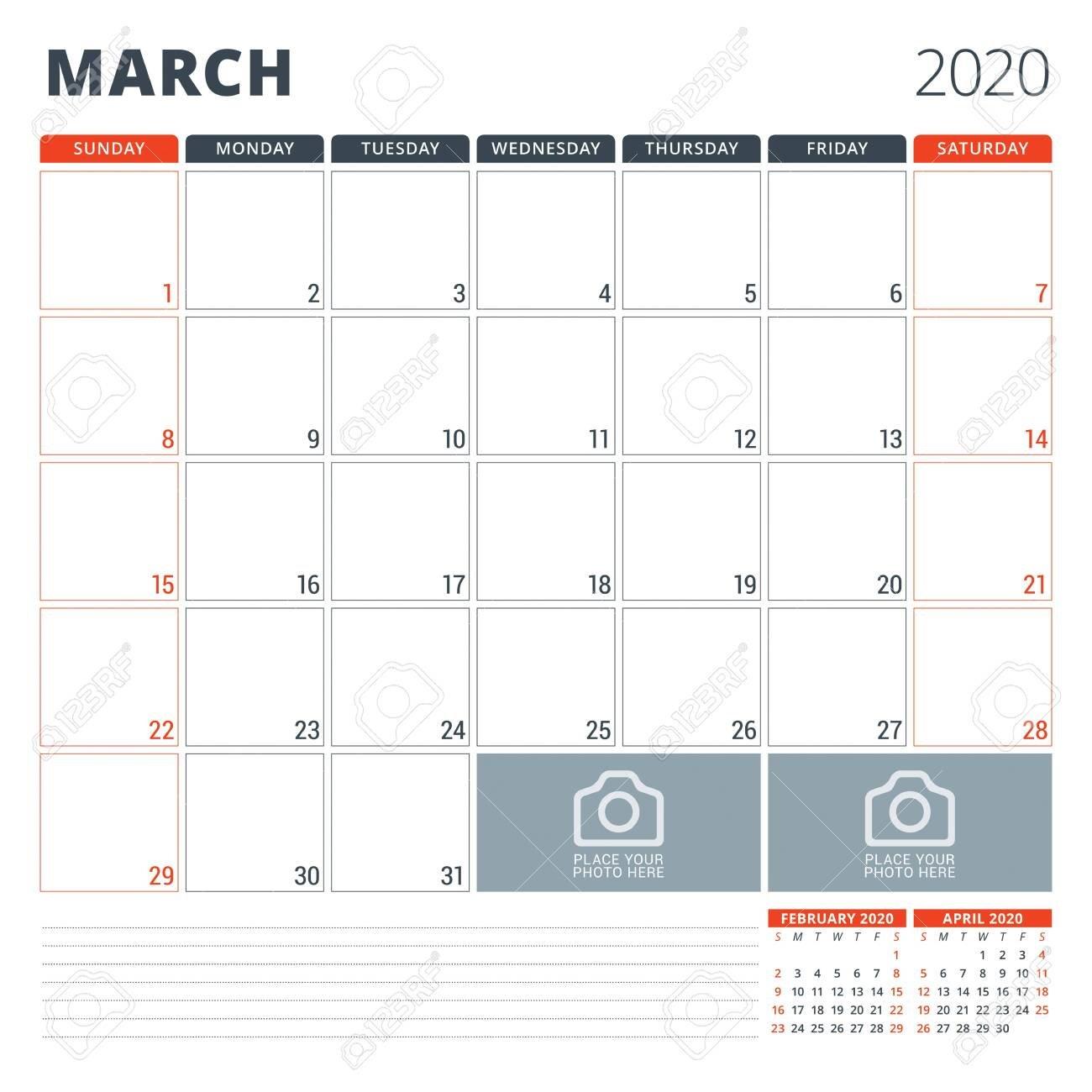 Calendar Planner For 2020. Stationery Design Template. Week Starts.. Monday Through Friday 8 5 Calendar