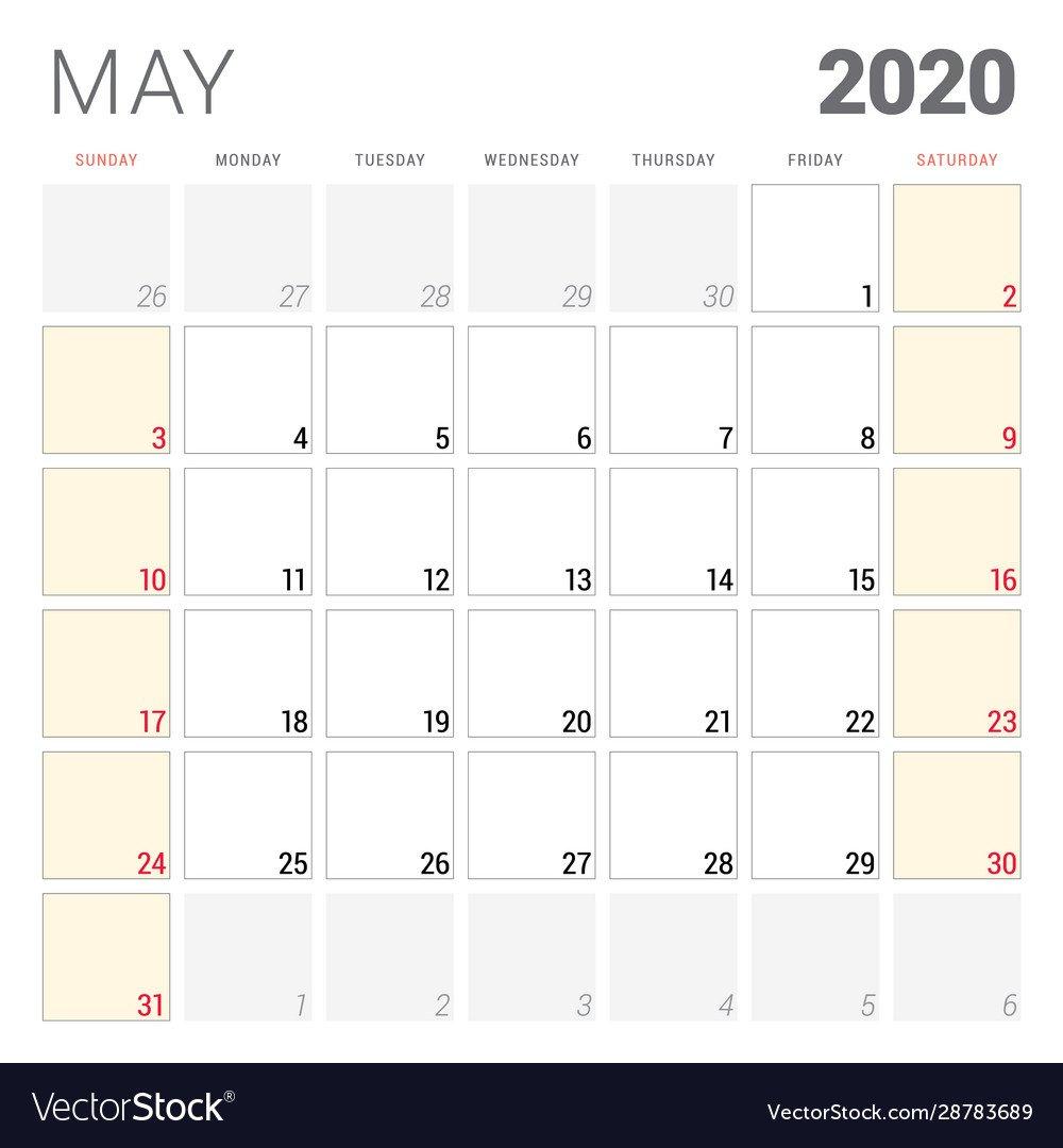 Calendar Planner For May 2020 Week Starts On Two Weeks In May Calendar