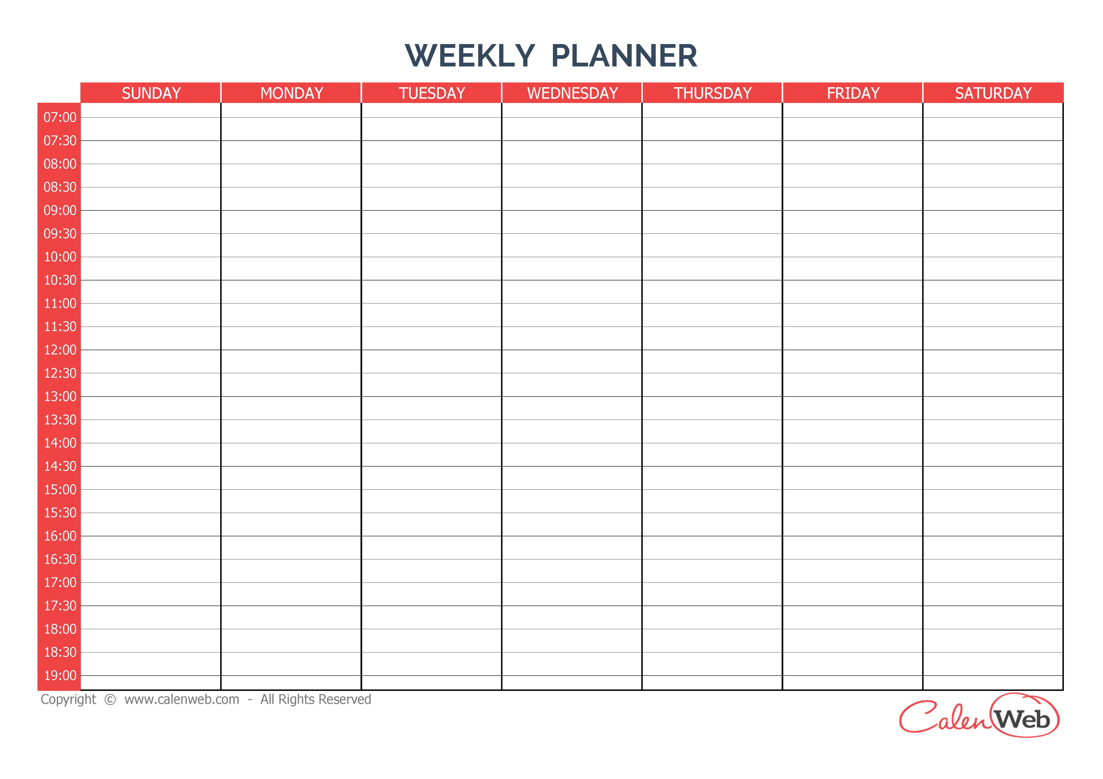 Calendriers Hebdomadaires – Calenweb Sunday Through Saturday Blanl Calendar