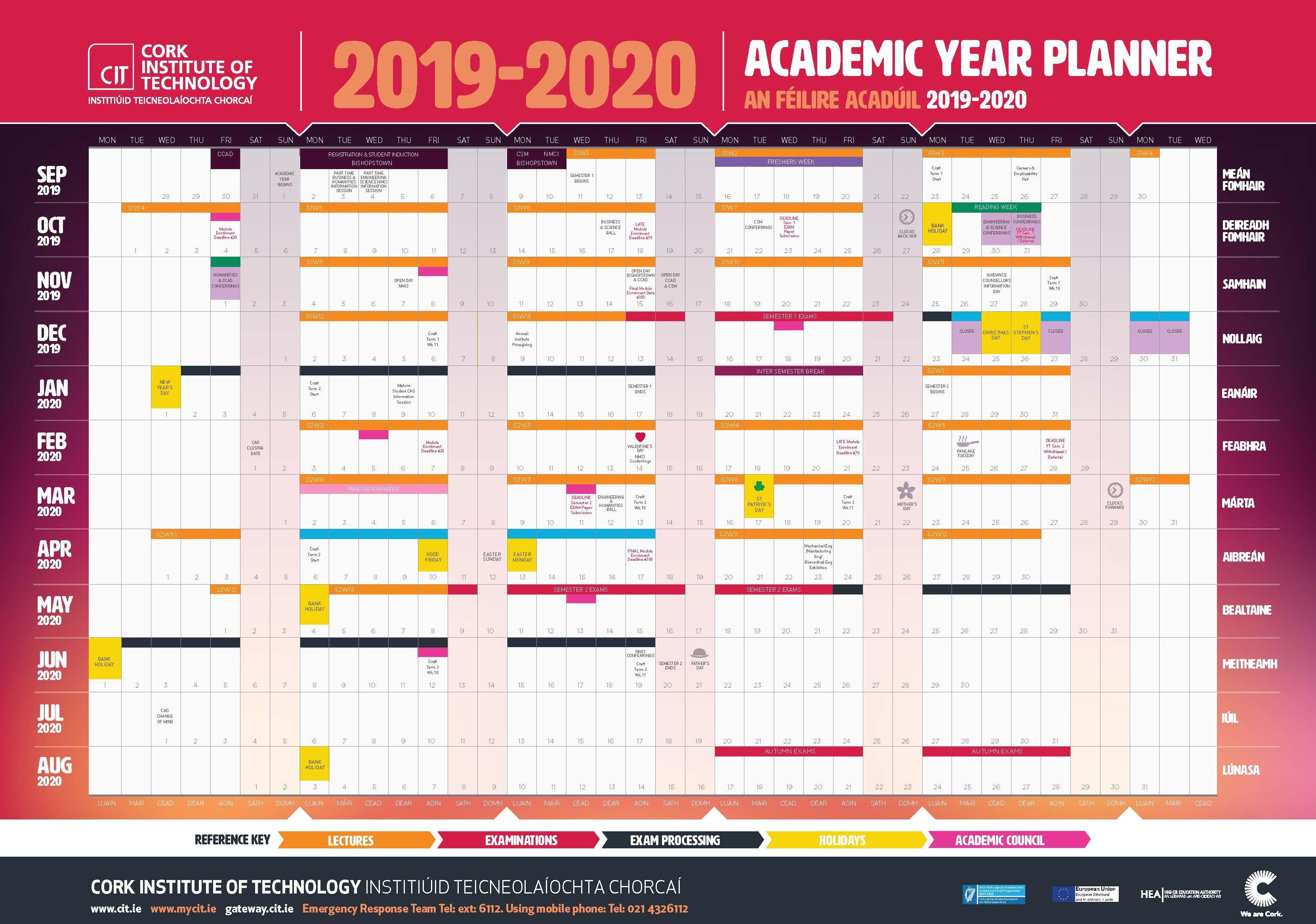 Cit – Cork Institute Of Technology – Semester Dates And Calendar Hr Calendar For The Year