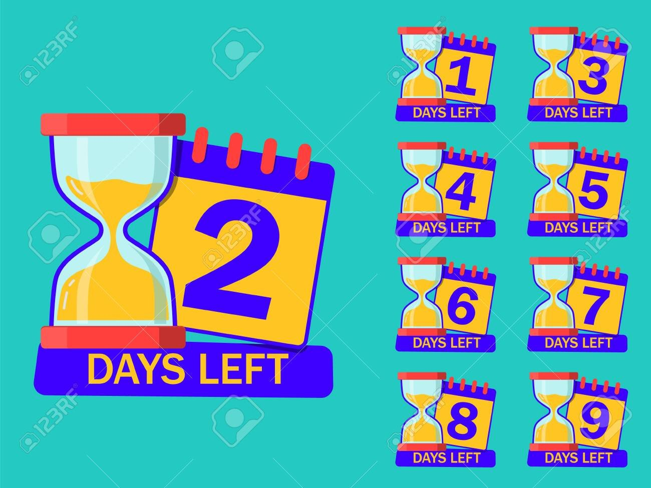 Countdown Timer Days With Hourglass And Calendar. 1, 2, 3, 4,.. Five Year Countdown Calendar